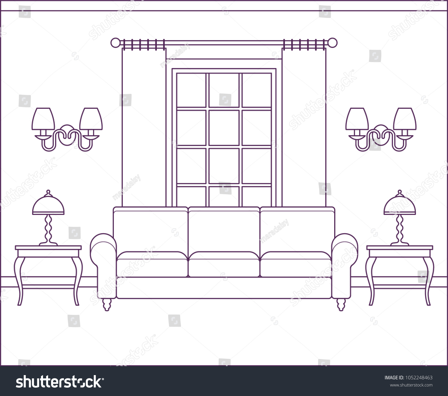 Room Interior Vector Living Room Home Stock Vector 1052248463 ...