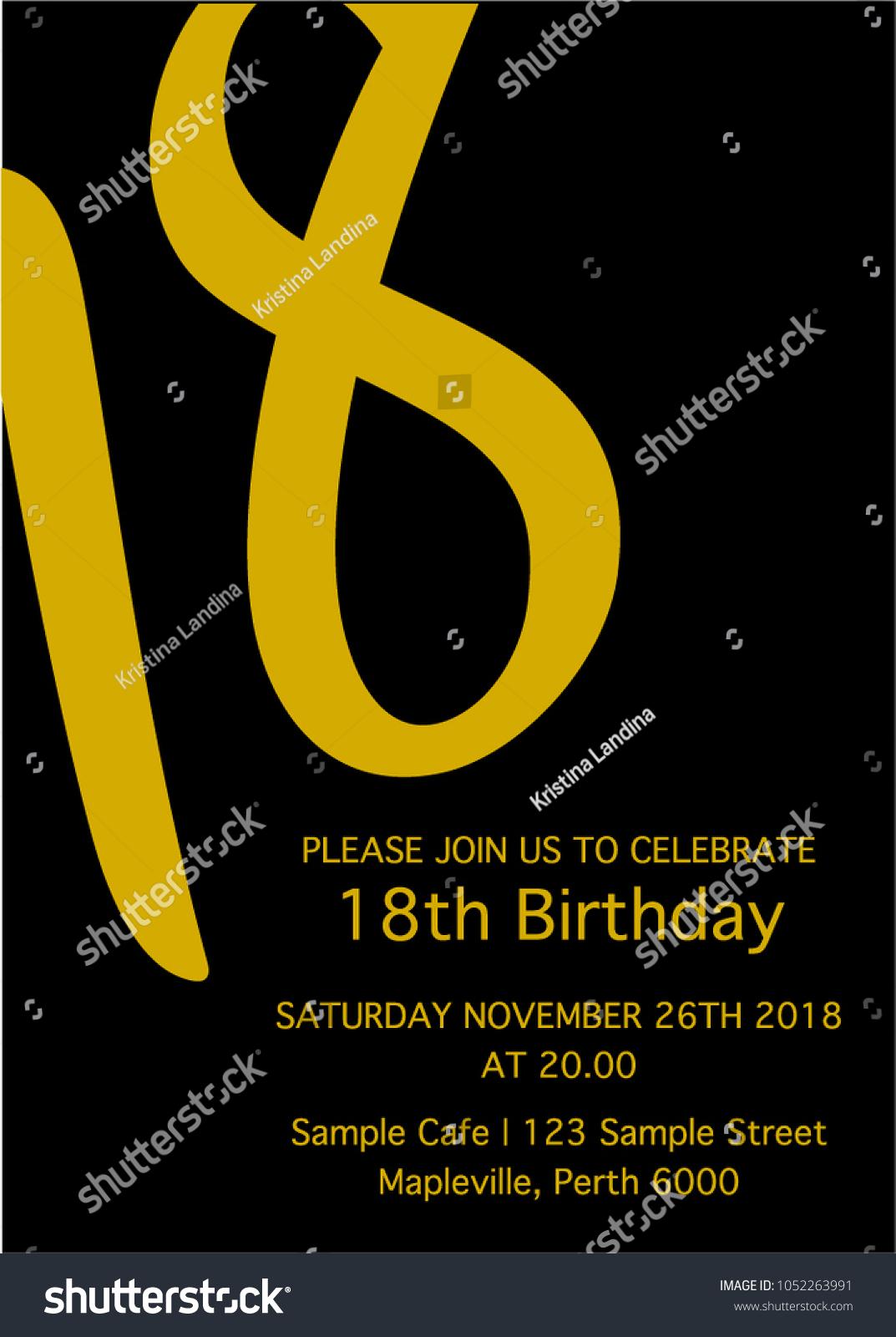 Black Yellow Eighteen Invitation Card 18th Stock Vector 1052263991 ...