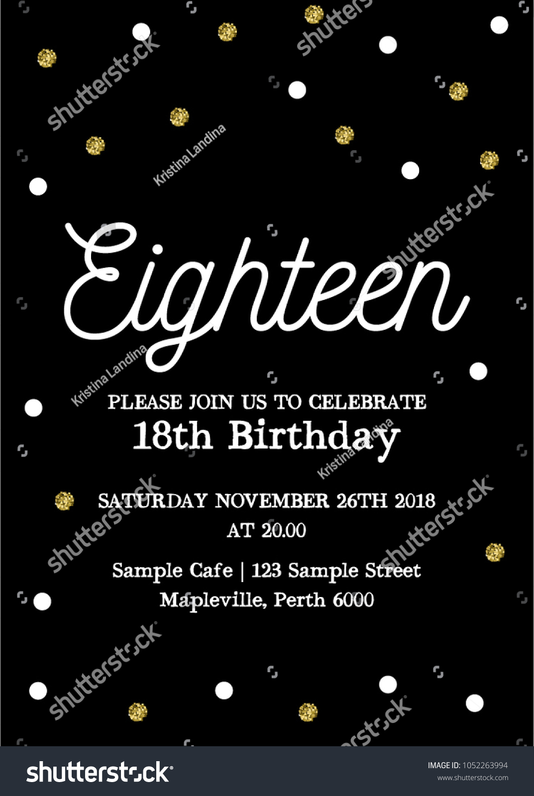 Eighteen Invitation Card 18th Birthday Party Stock Vector (Royalty Free)  1052263994