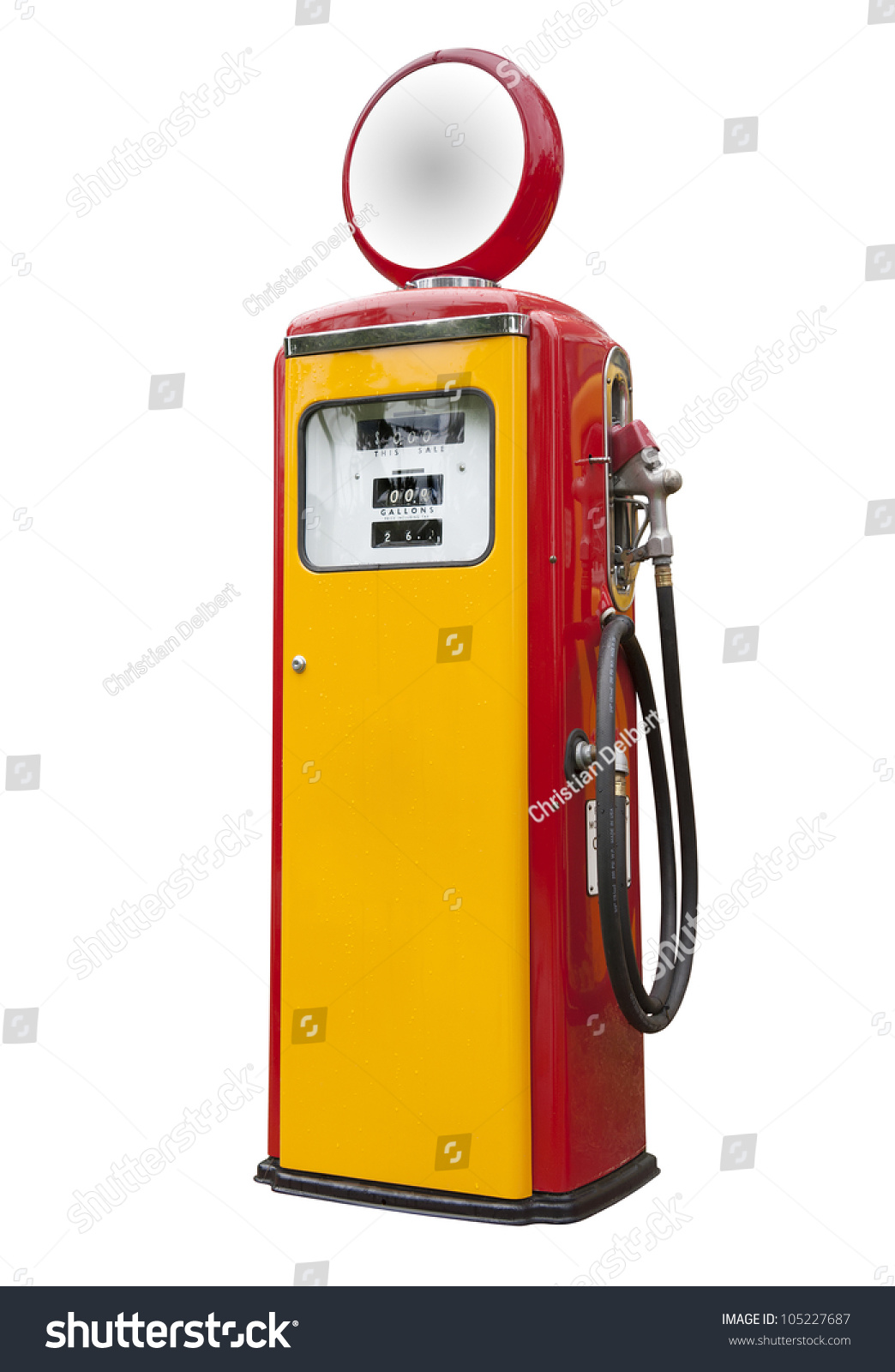 Antique Gas Pump On White Isolated Stock Photo 105227687 ...
