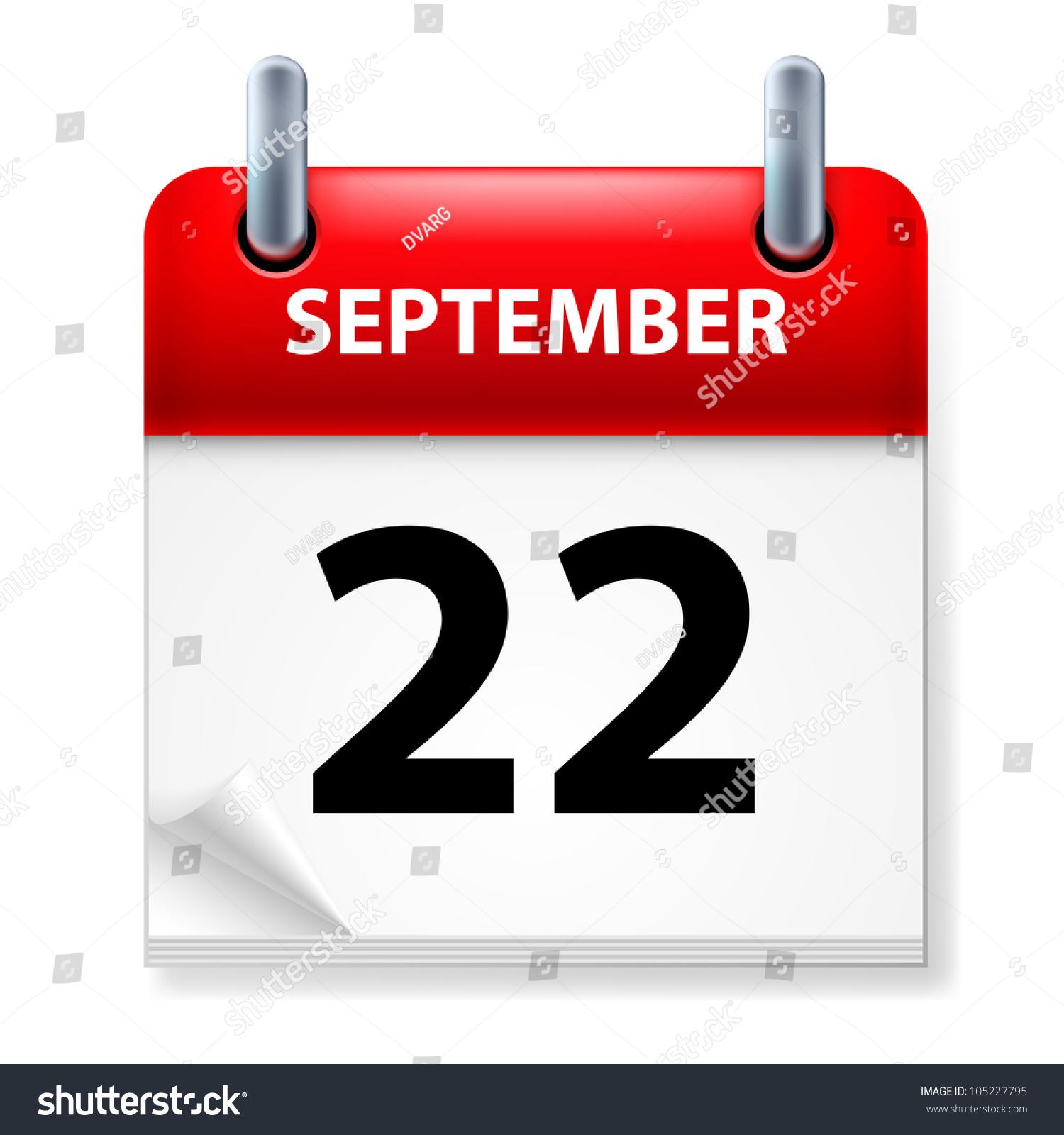 Calendar Background Vector : Twentysecond september calendar icon on white stock vector