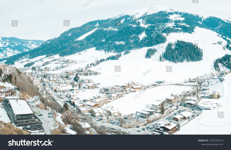aerial view mountain ski resort village stock photo (edit now