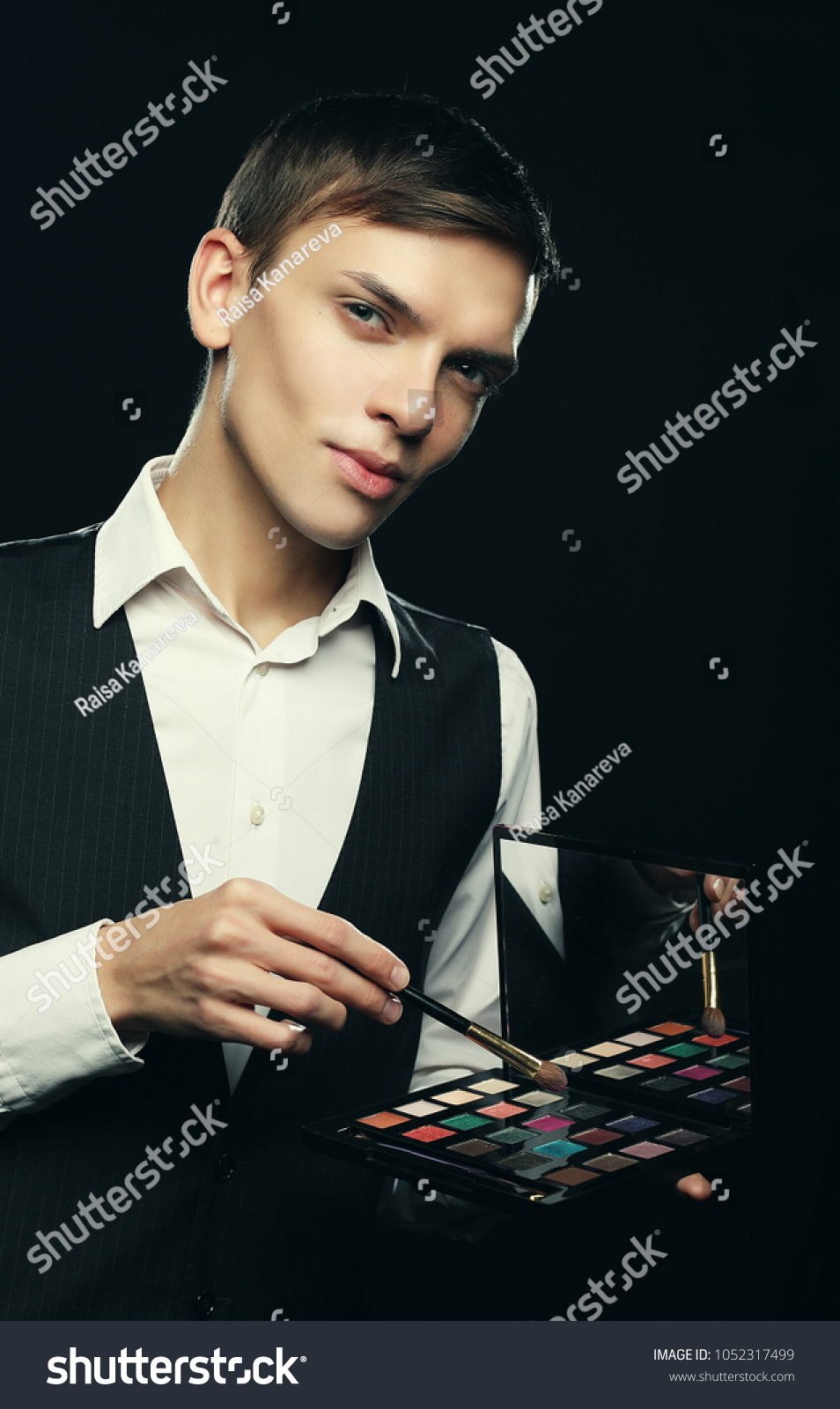 Male Makeup Artist Staying On Dark Stock Photo Edit Now 1052317499