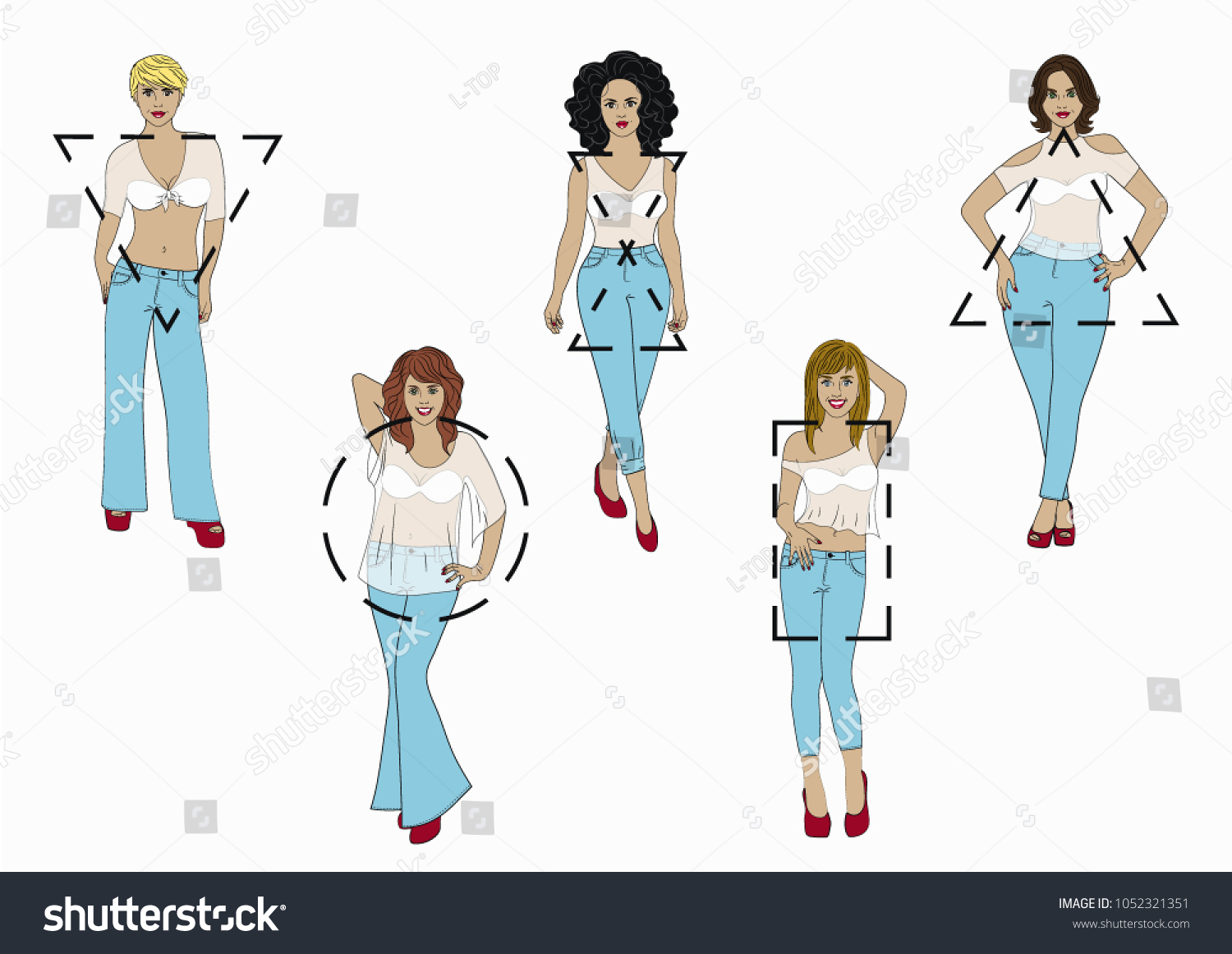 Set Isolated Female Body Shape Types Stock Vector (Royalty Free ...