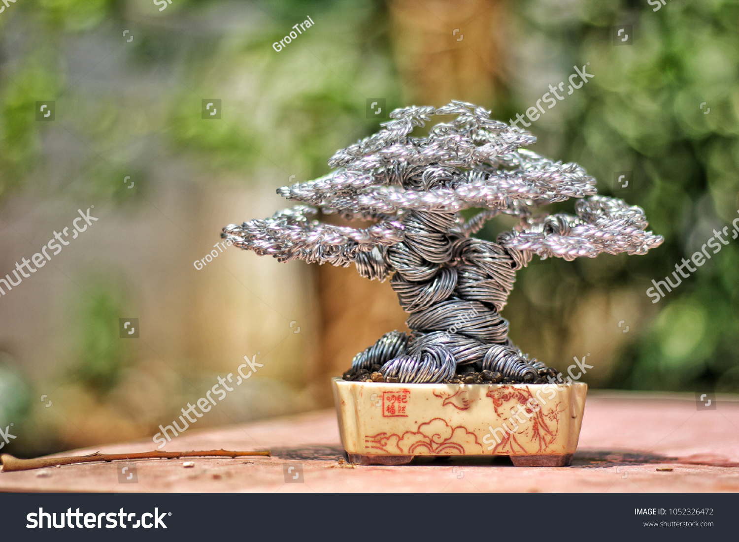 Handmade Wire Bonsai Tree Make White Stock Photo Edit Now Wiring For Beginners From Colour Aluminum Be Twisted Roll Bending Cutting