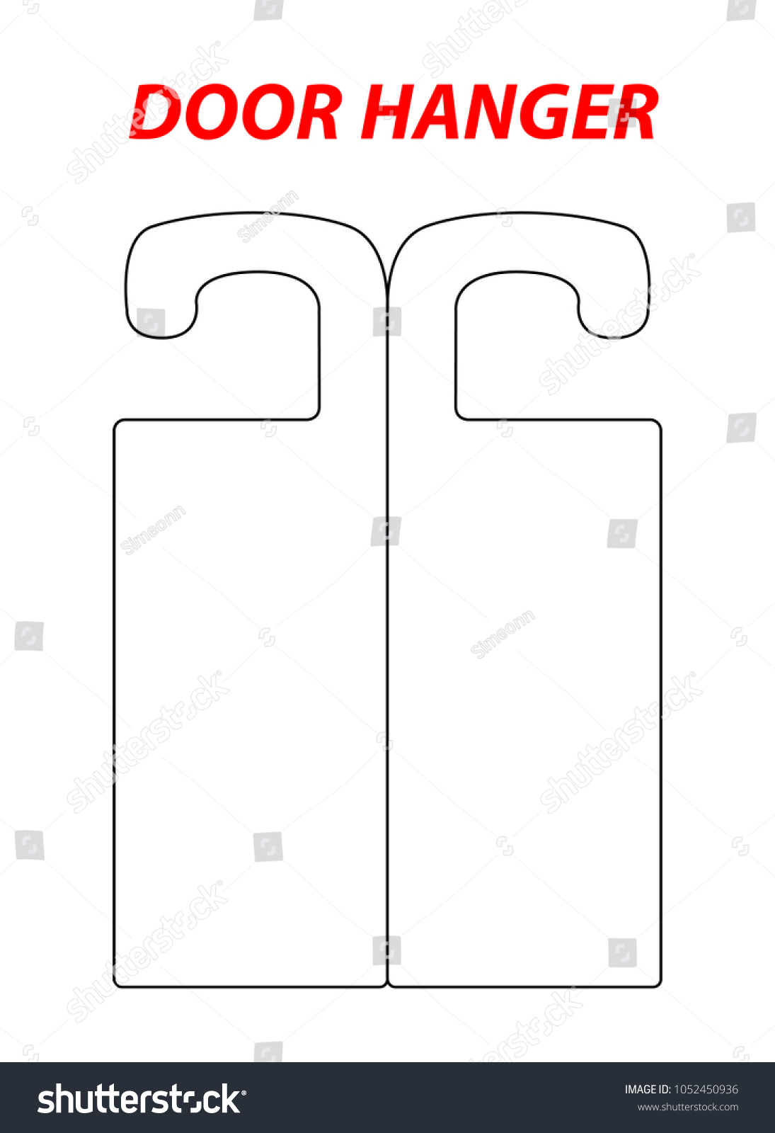 Two Section Hanger Die Cut Template Stock Vector (Royalty Free ...