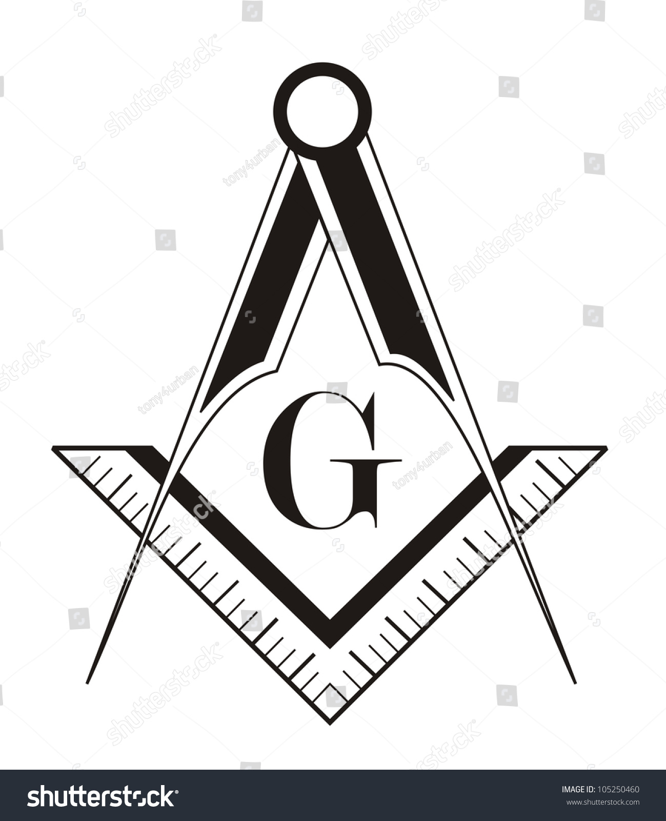 Black White Freemason Symbol Illustration On Stock Illustration