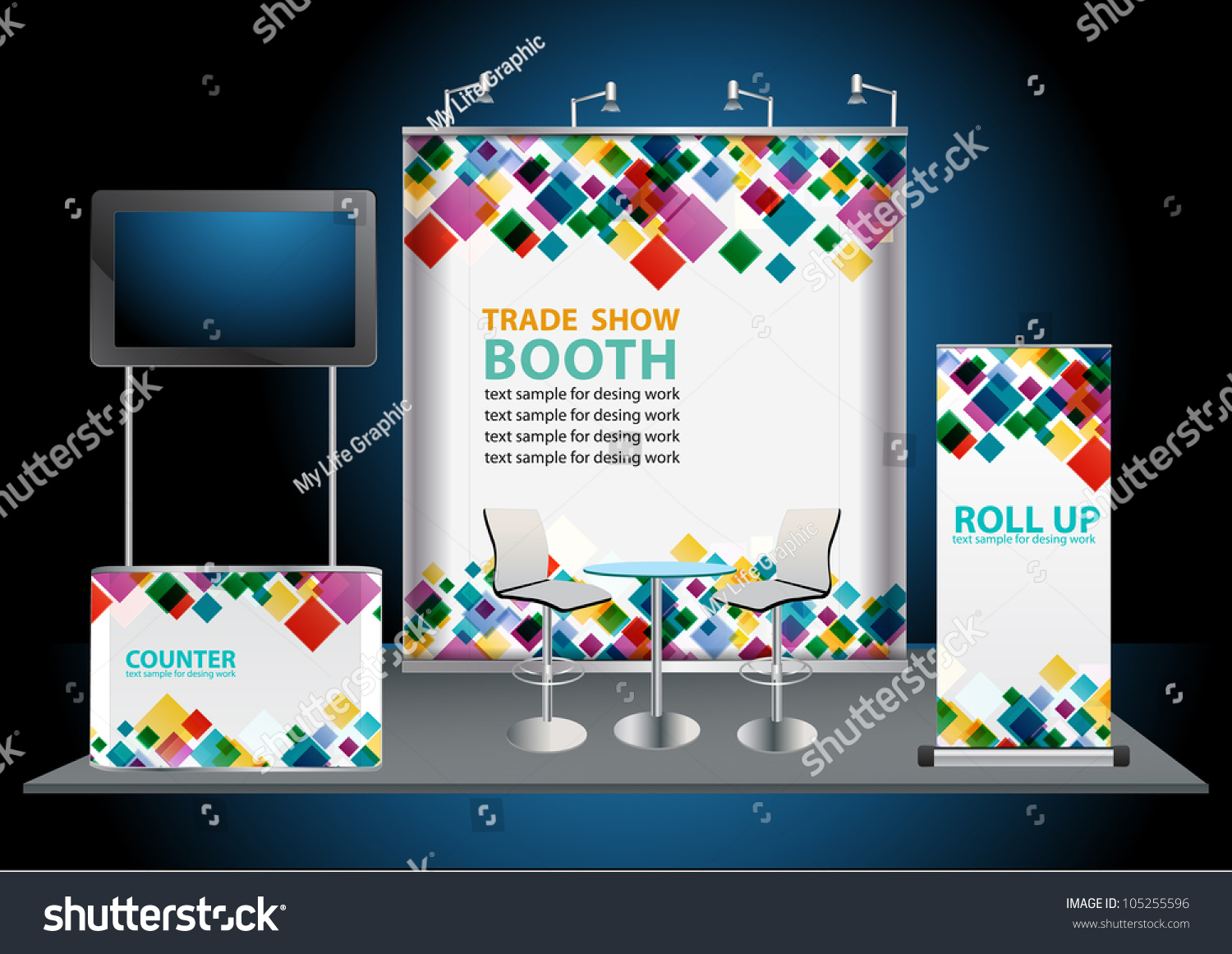 Fabric Exhibition Stand Vector : Vector blank trade exhibition stand with widescreen lcd