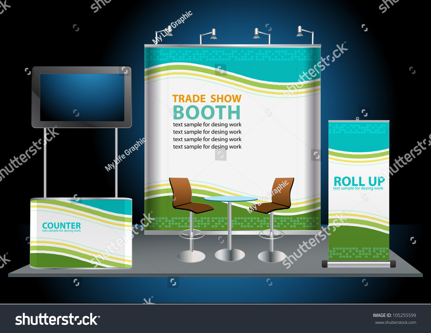 Exhibition Stand Roll Up : Vector blank trade exhibition stand with widescreen lcd