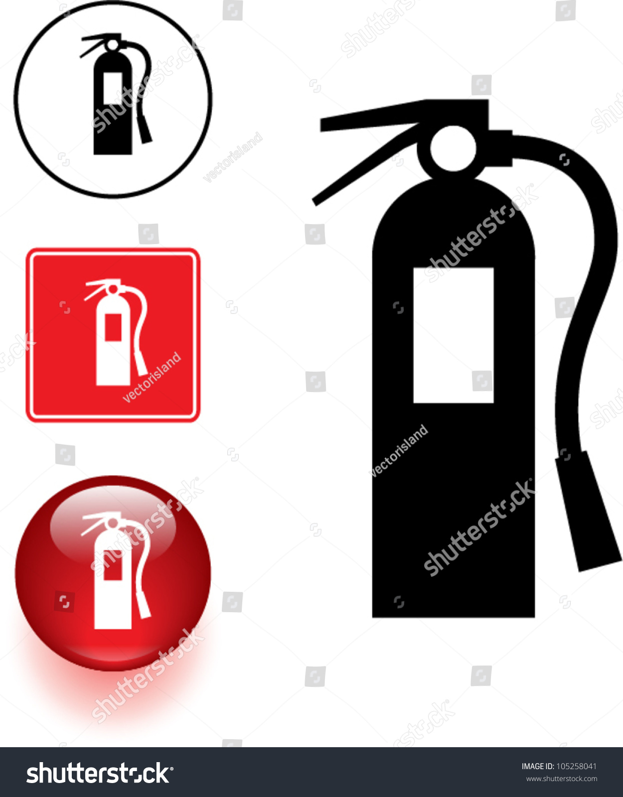 Fire Extinguisher Symbol Sign Button Stock Vector 105258041 ...