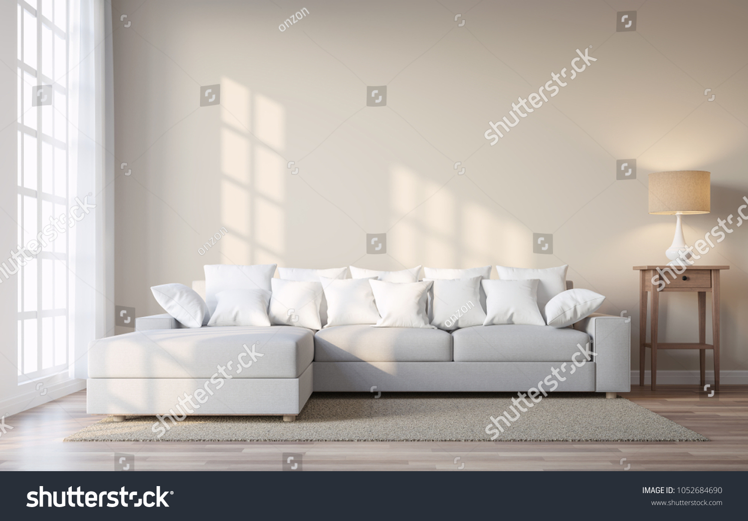Vintage Style Living Room Beige Color Stock Illustration 1052684690 ...