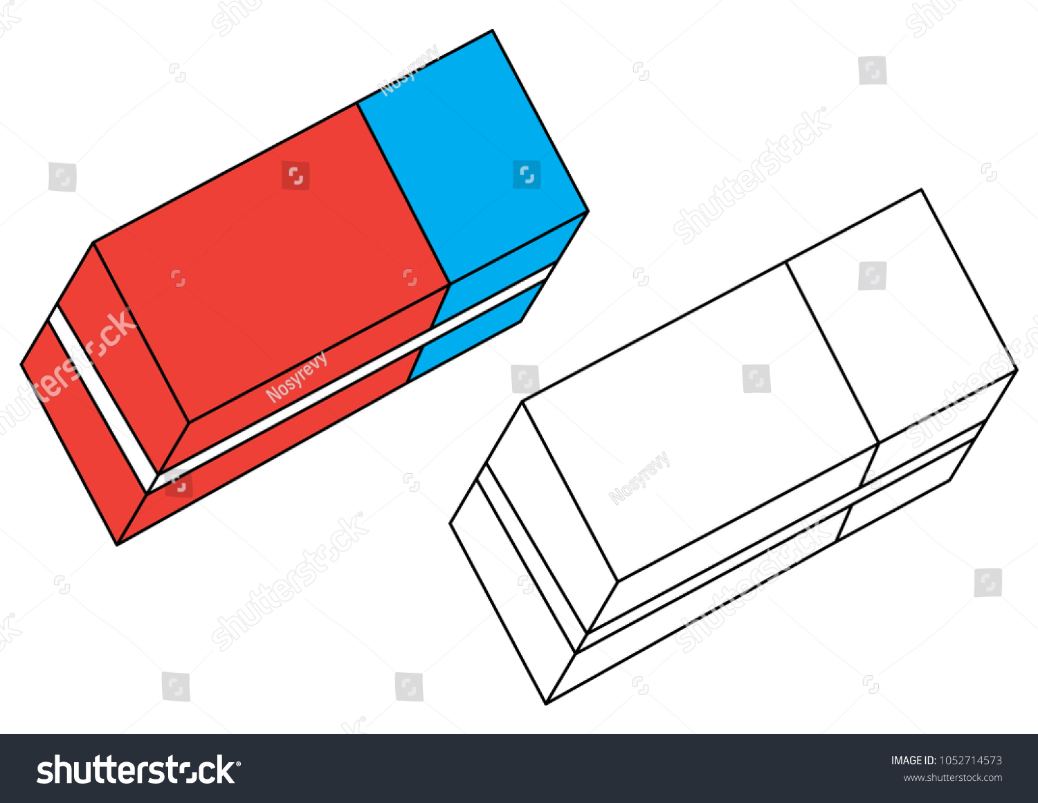 Eraser Coloring Page Vector Stock Vector 1052714573 - Shutterstock