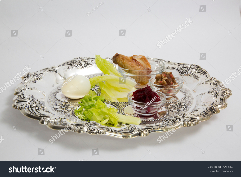 Passover Seder Plate Symbols Haroset Zroa Stock Photo Royalty Free