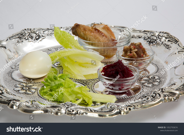 Passover Seder Plate Symbols Haroset Zroa Stock Photo Edit Now