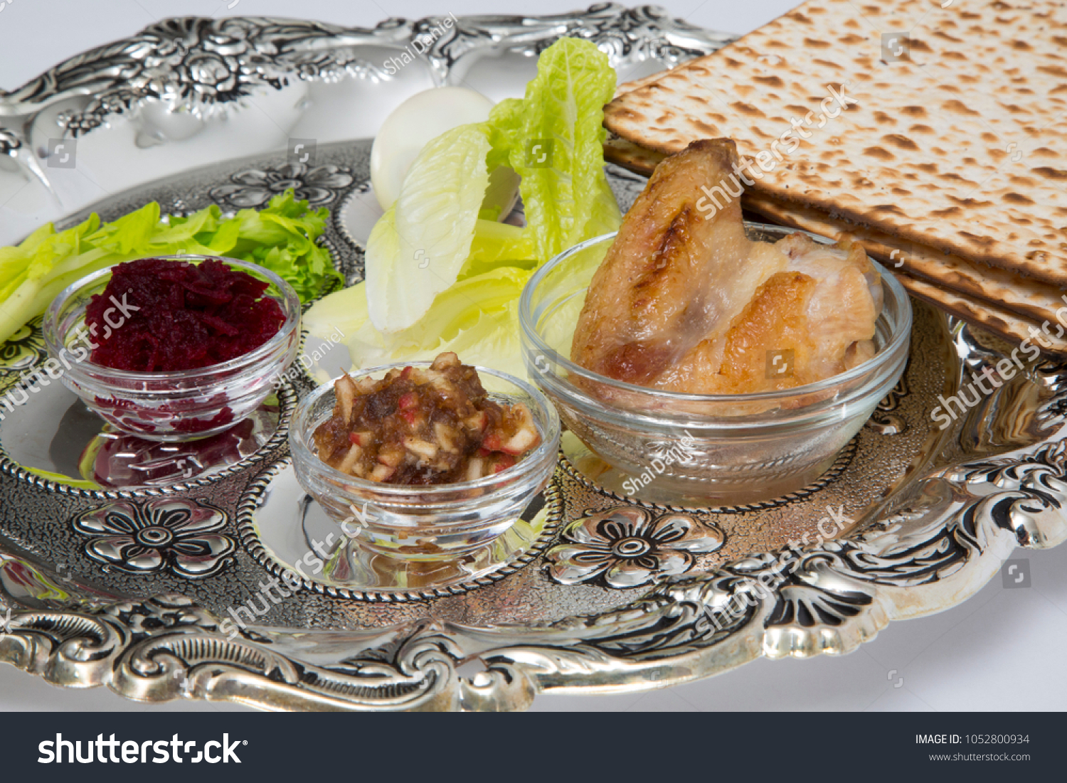 Passover Seder Plate Symbols Pesach Stock Photo Royalty Free