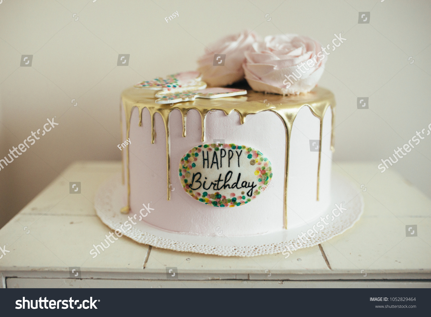 Admirable Golden Birthday Cake Stock Photo Edit Now 1052829464 Funny Birthday Cards Online Alyptdamsfinfo