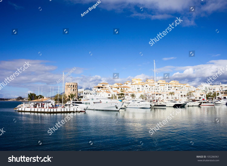 Famous Marina Of Puerto Banus Near Marbella On Costa Del