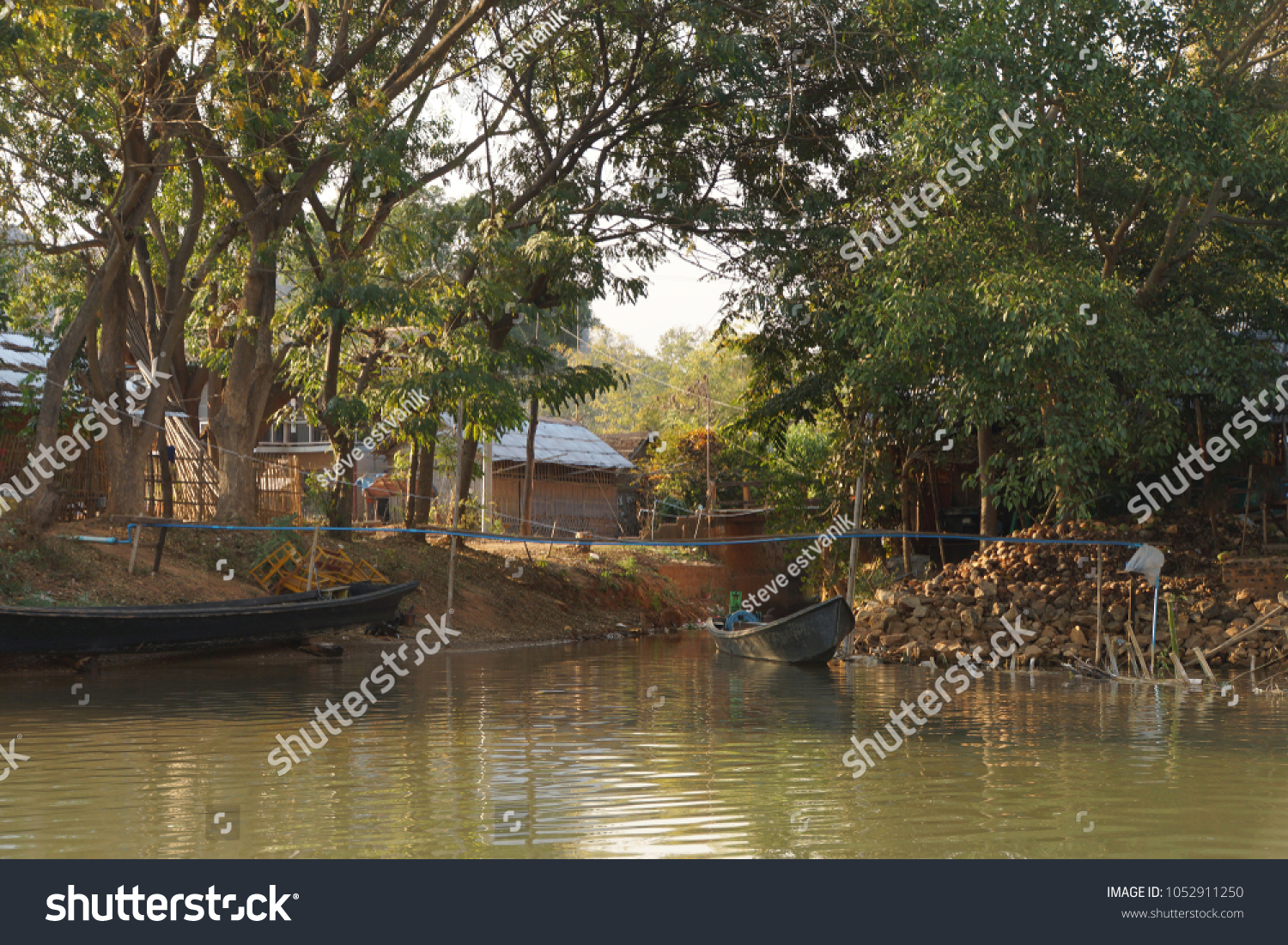 Small Boat Among Floating Gardens Canals Stock Photo (Royalty Free ...