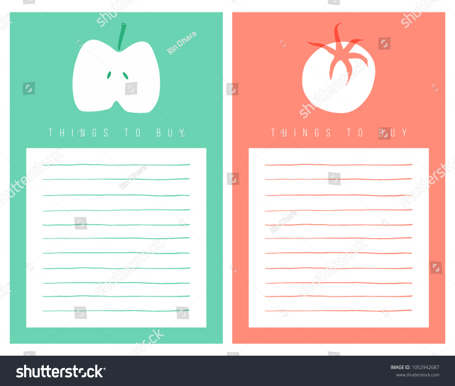Shopping List Template Decorated Apple Tomato Stock Vector ...