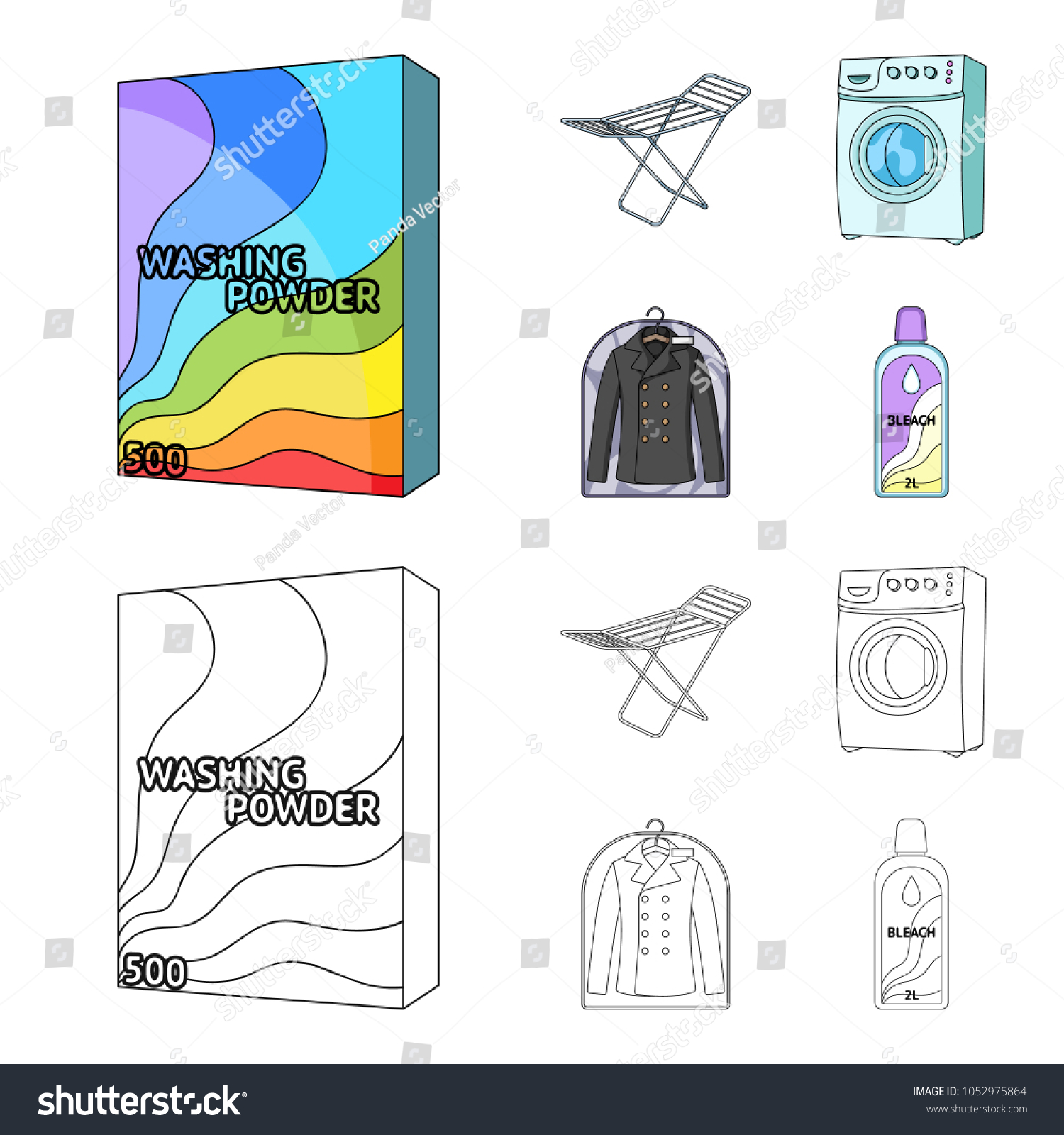 Dryer washing machine clean clothes bleach stock vector 1052975864 dryer washing machine clean clothes bleach dry cleaning set collection icons in biocorpaavc Image collections