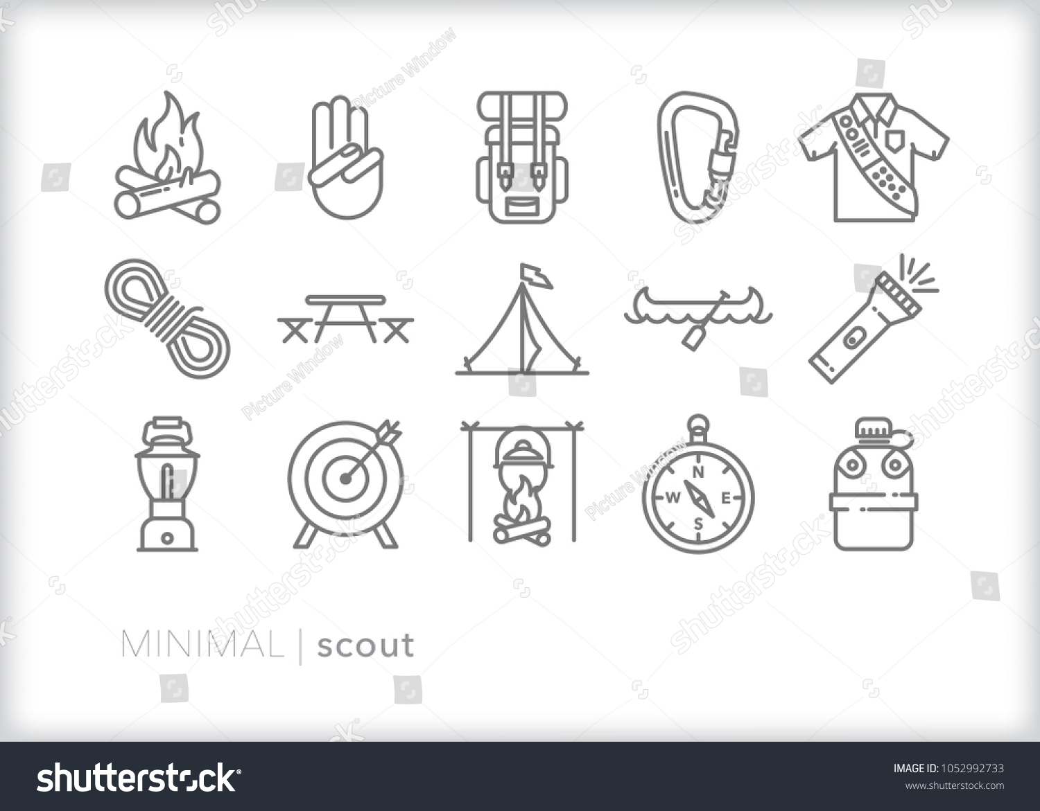 Set 15 Minimal Scout Icons Showing Stock Vector Royalty Free