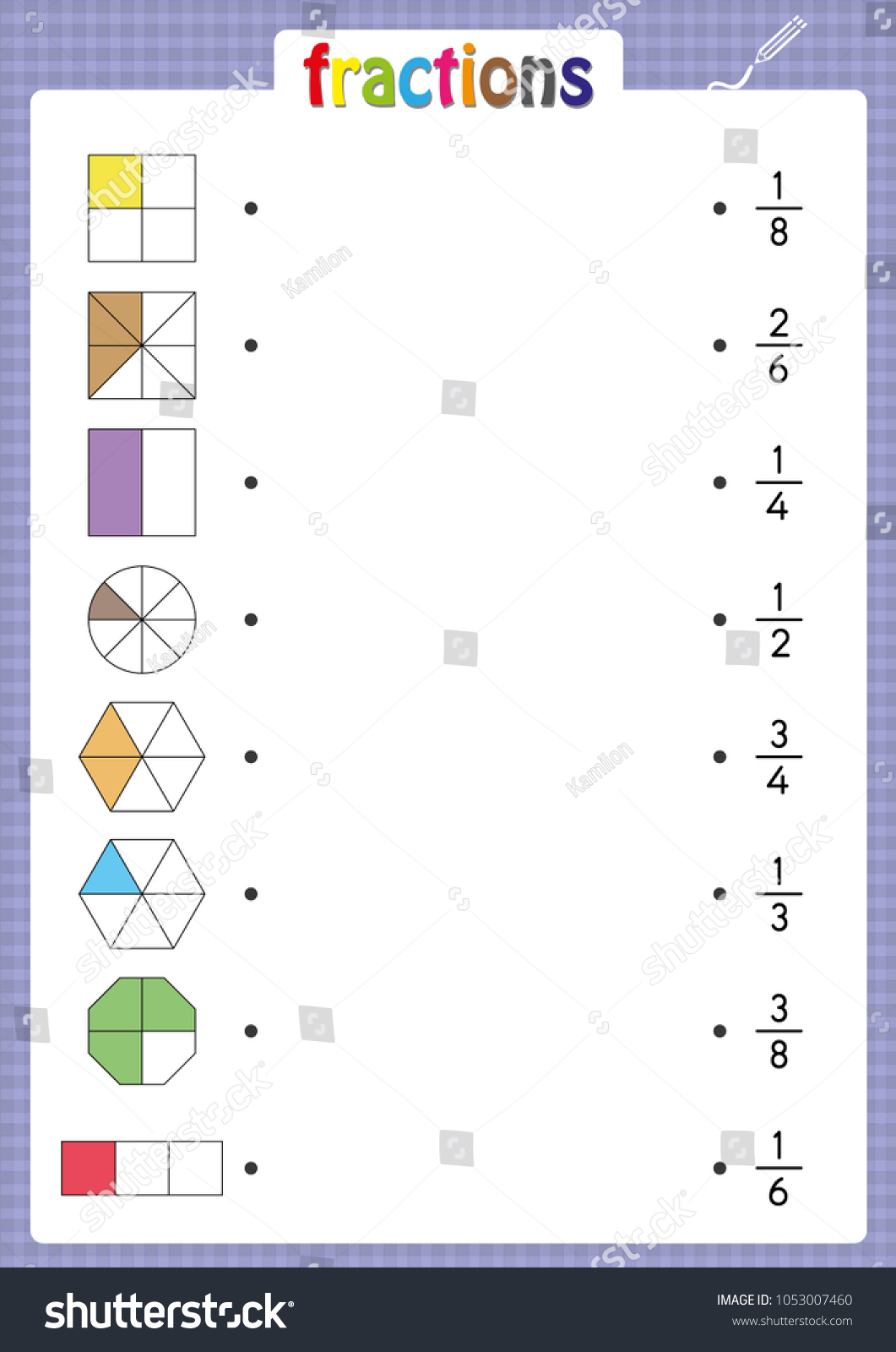 Match Shapes Correct Fractions Math Worksheet Stock Vector Royalty