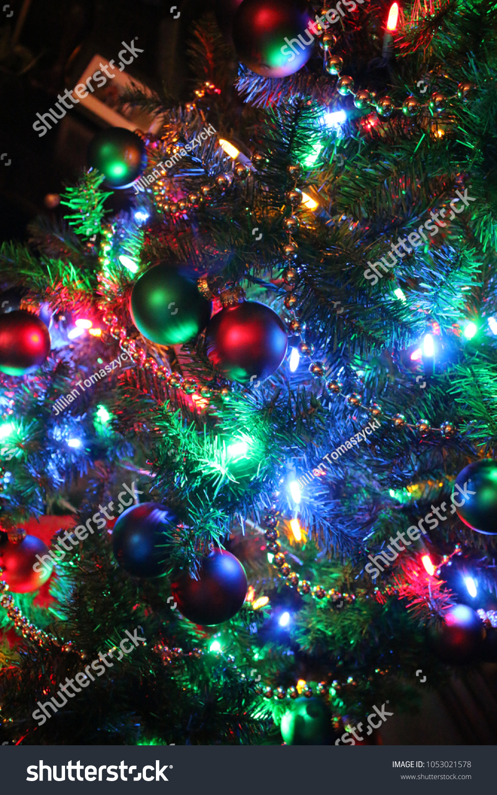 Christmas Tree Beautifully Decorated Multicolored Lights Stock Photo Edit Now 1053021578