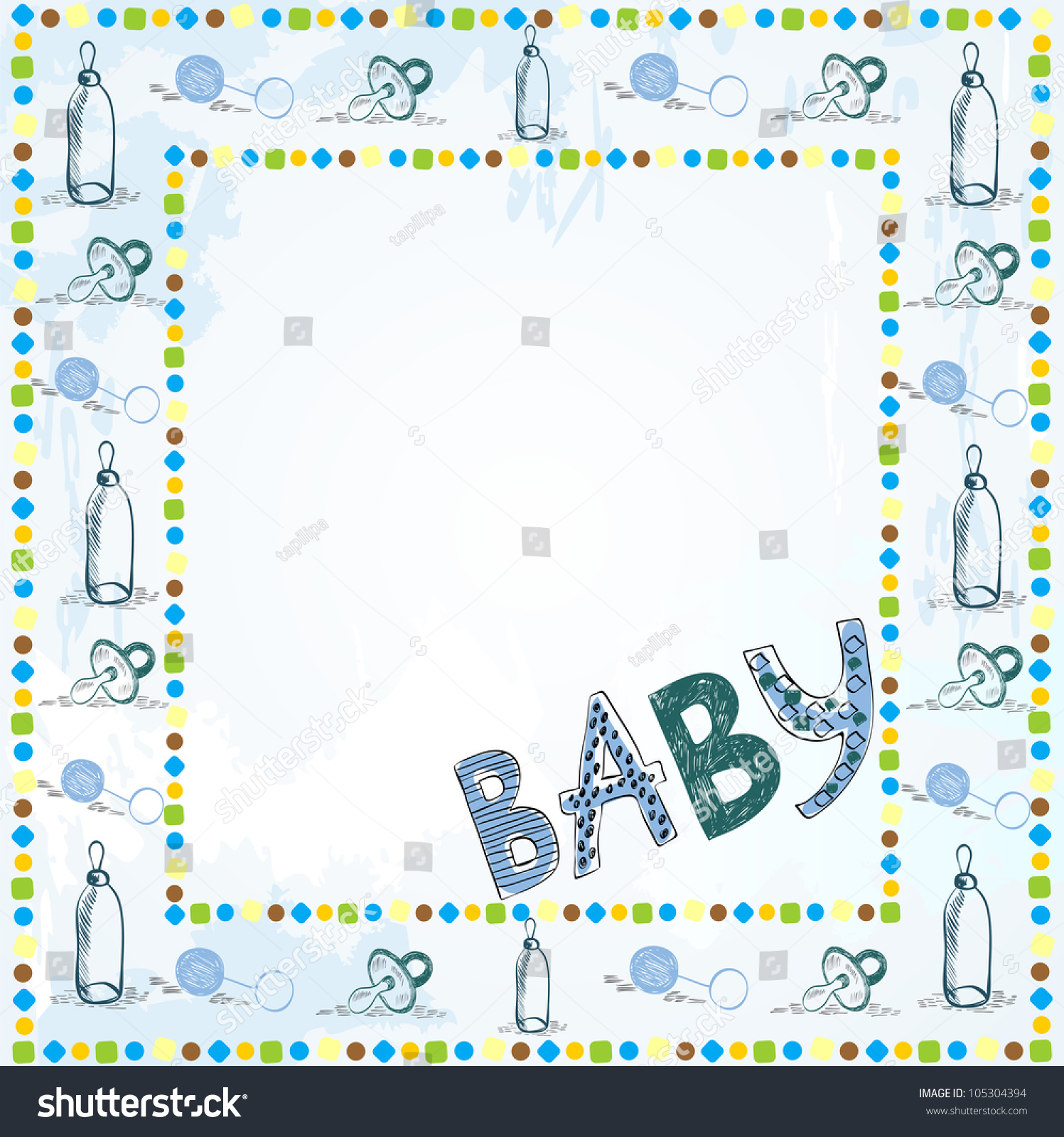 Scrapbook paper baby - Cute Scrapbook Paper For Boy With Baby Elements