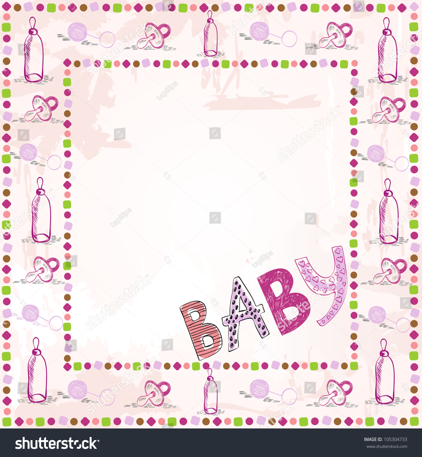 Scrapbook paper baby - Cute Scrapbook Paper For Girl With Baby Elements
