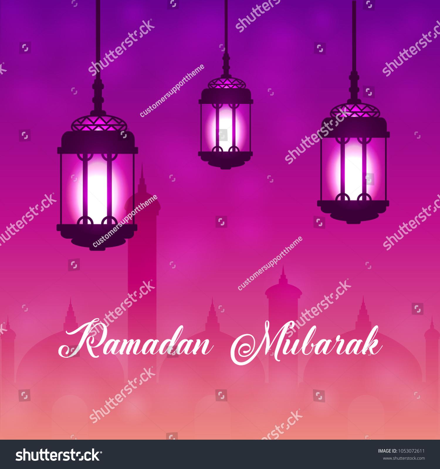 Beautiful Hanging Shiny Lanterns On Background Stock Vector