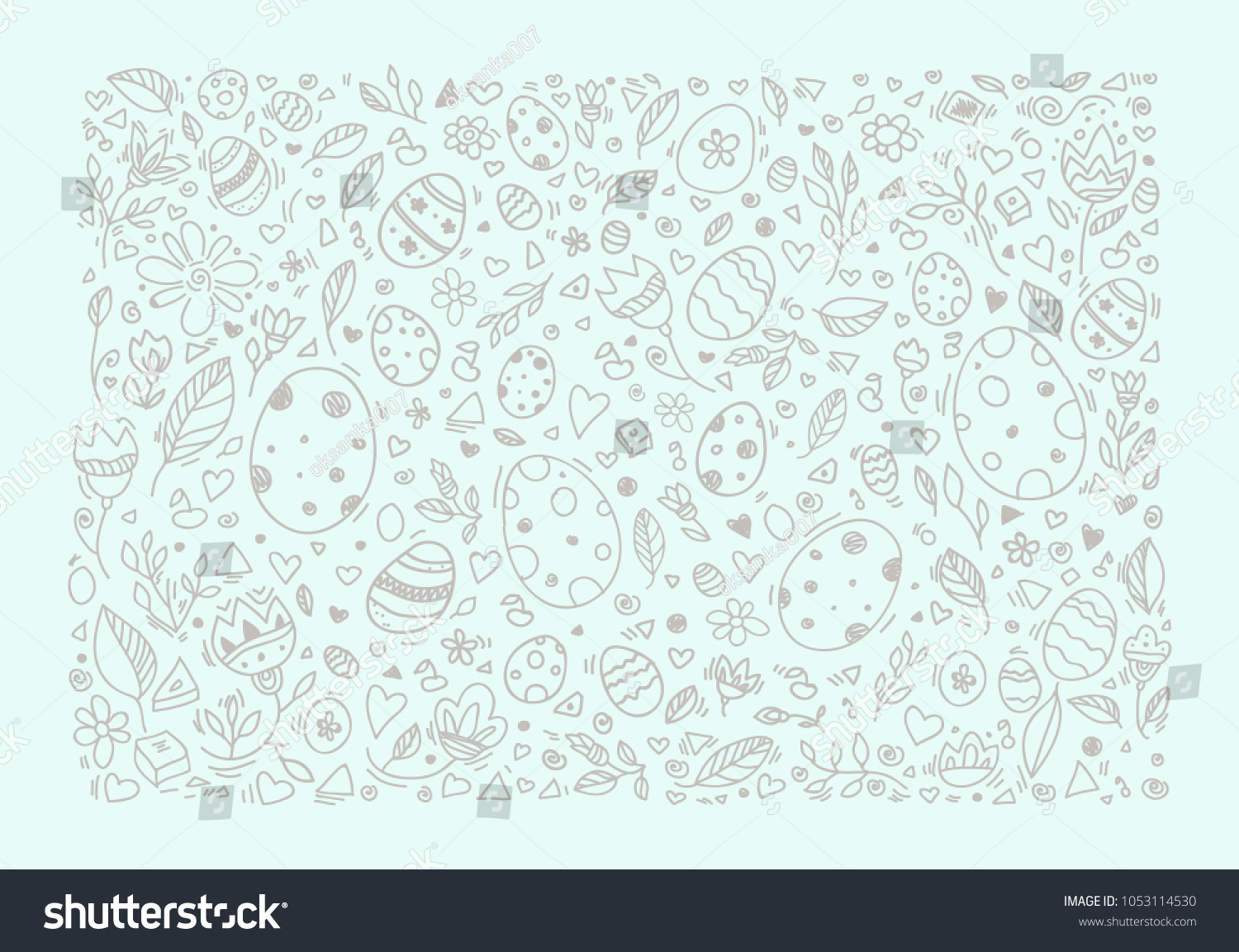 Easter Background Egg Pattern Greeting Card Stock Vector 1053114530
