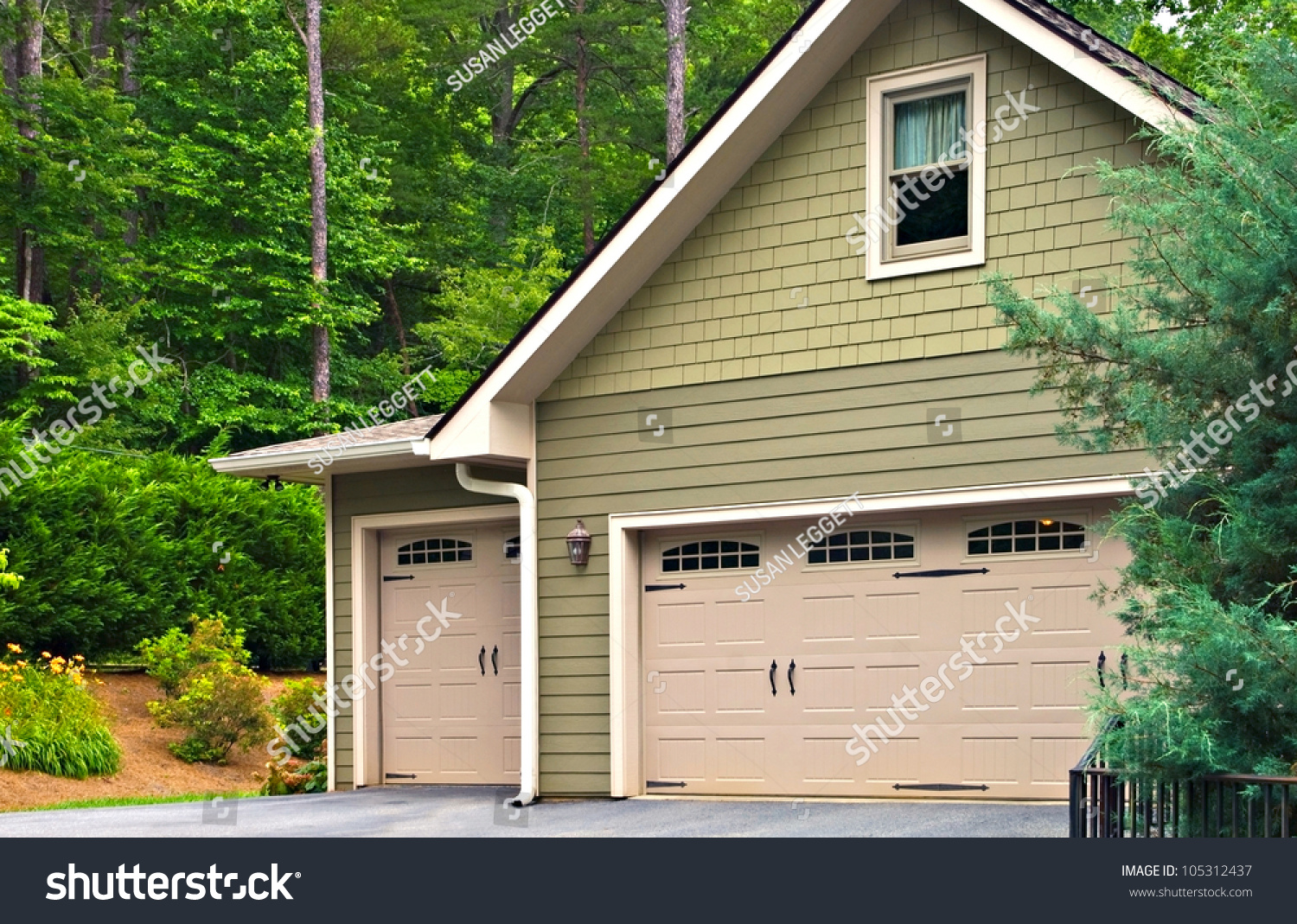 Garage Doors On Modern House. Double Doors, With Windows, On One ... - ^