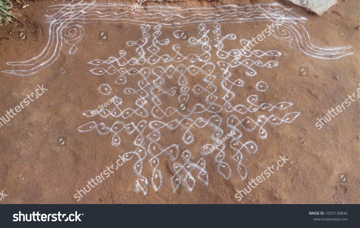 Rangoli Drawn On Cow Dung Floor Stock Photo Edit Now 1053130844