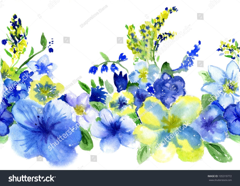watercolor dark blue yellow flowers on stock illustration