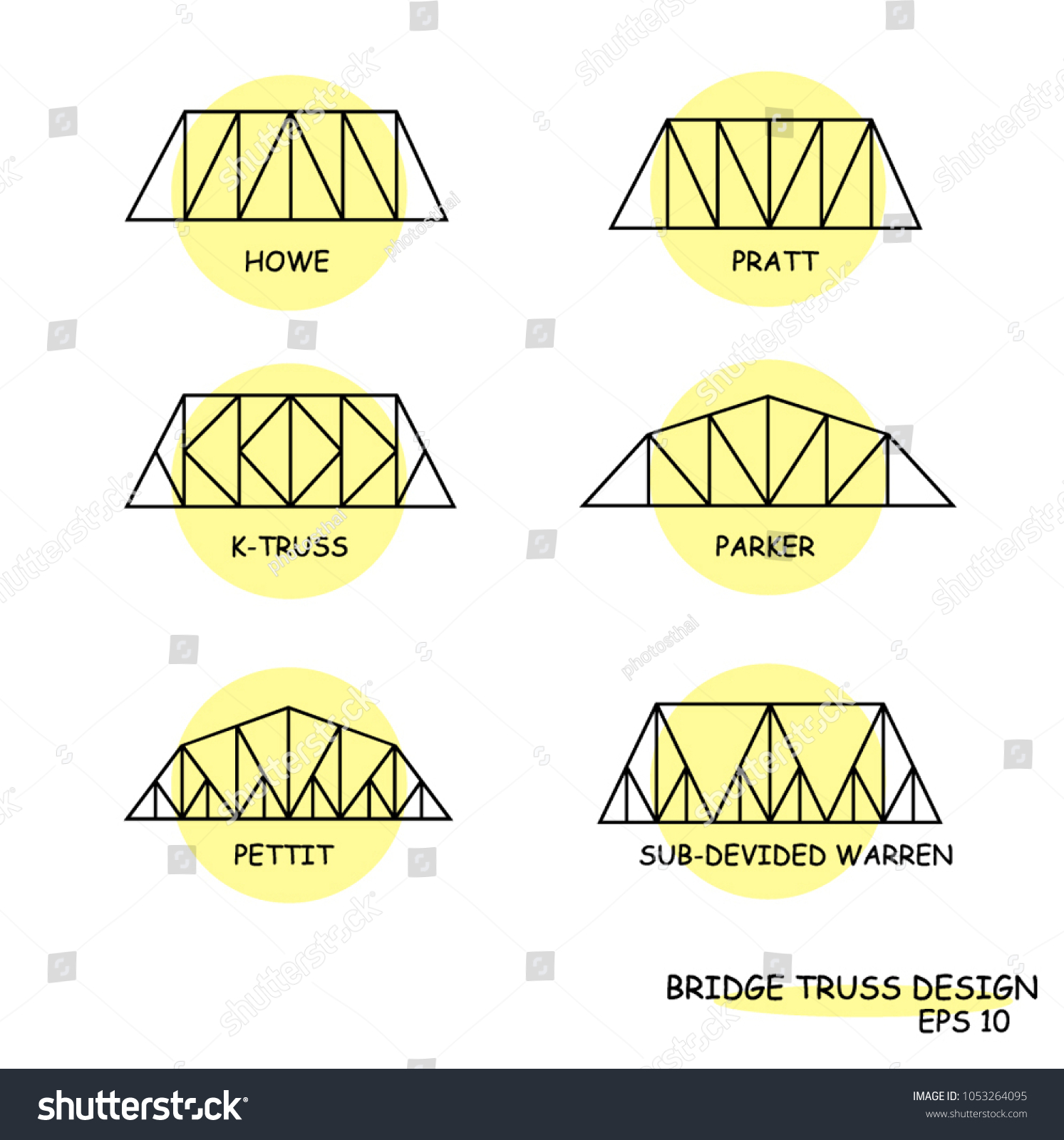 Bridge Truss Set Design Vector Illustration Stock Royalty Diagram Through