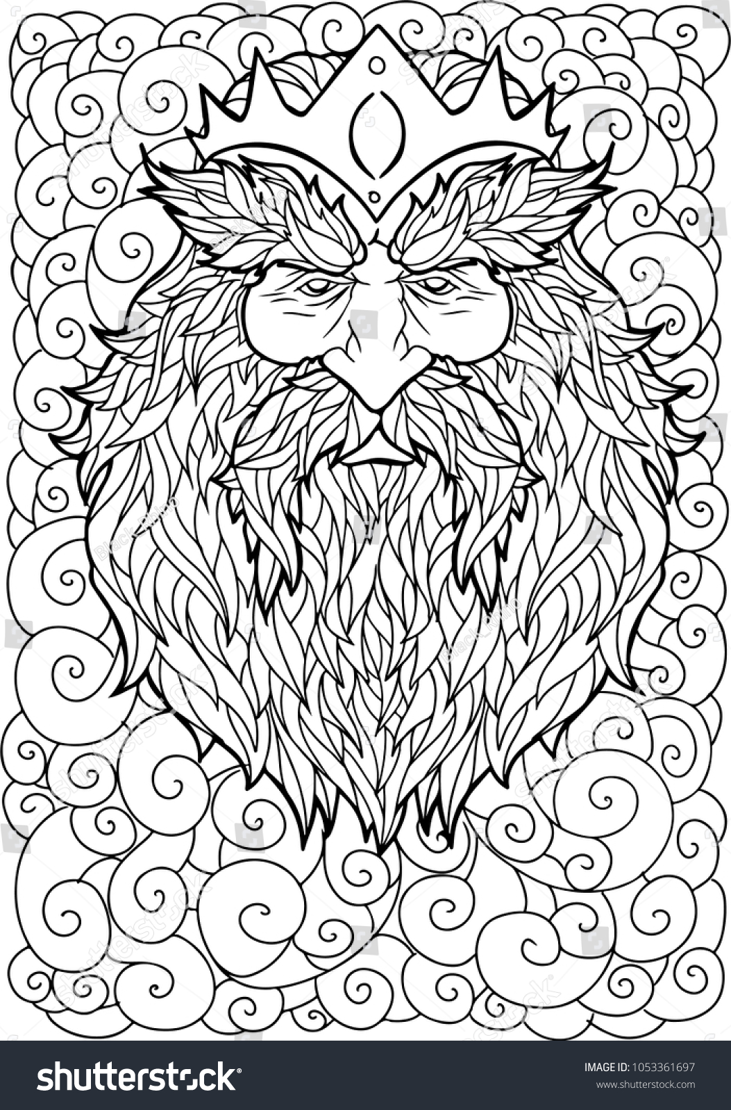 Bearded man with mustache and crown for adult coloring pages antistress tattoo art