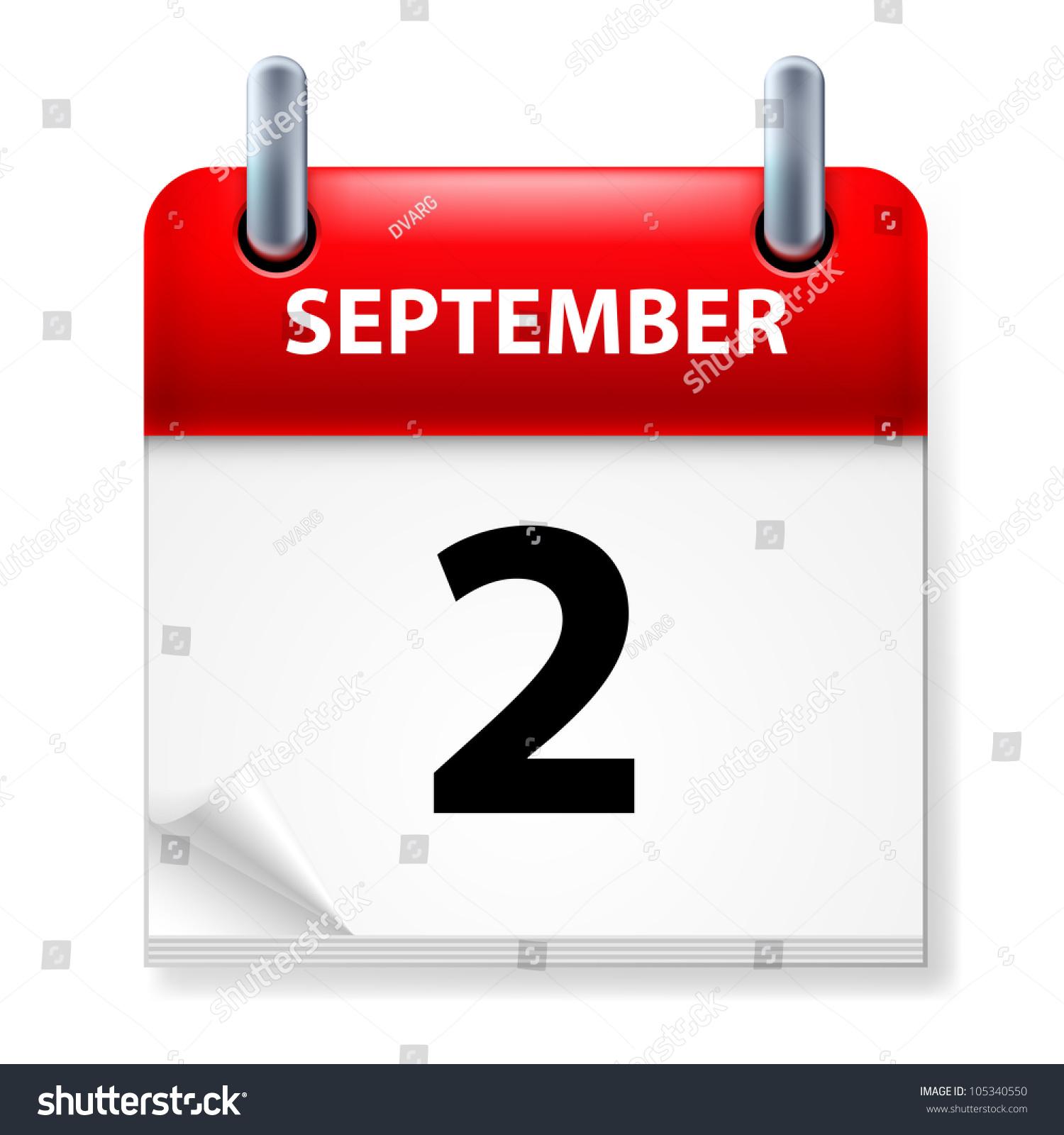 Calendar Background Vector : Second september calendar icon on white stock vector
