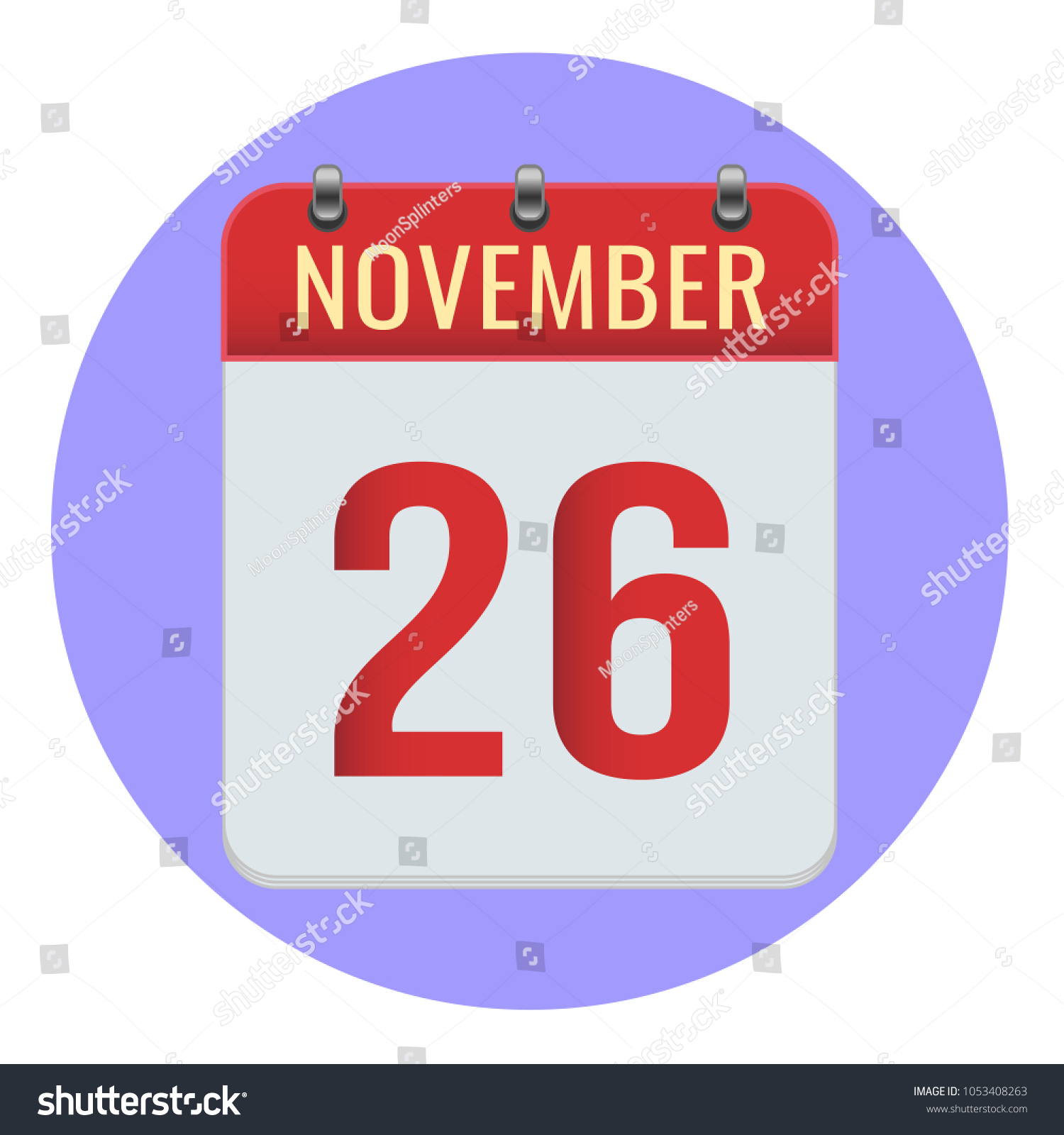 November 26 Vector Flat Daily Calendar Stock Vector Royalty Free