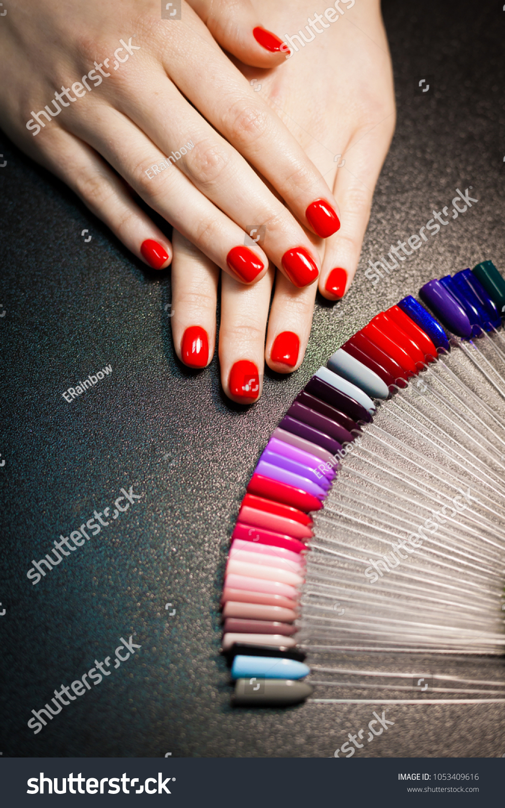 Professional Manicure Salon Red Color Decorative Stock Photo ...