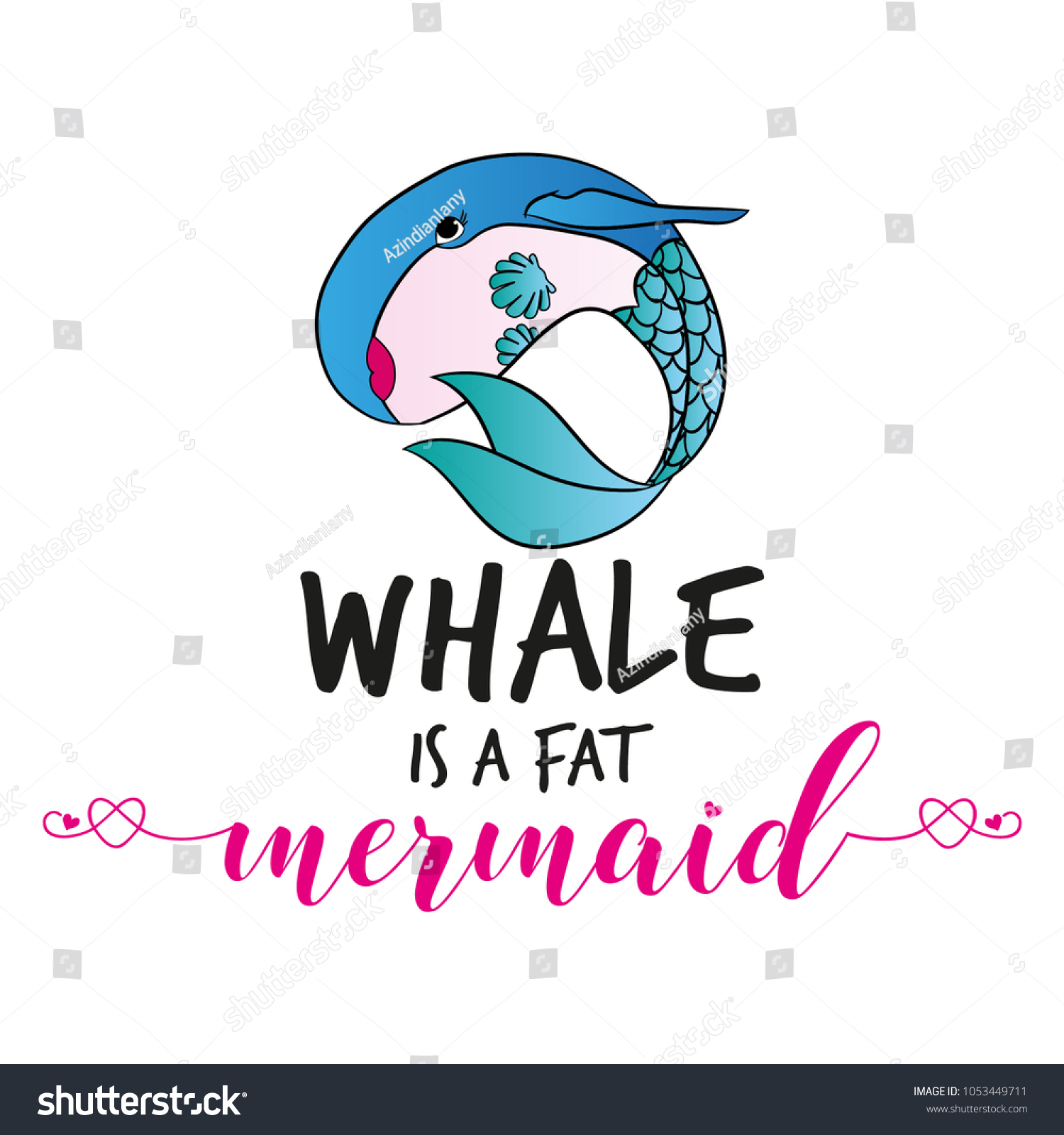 Whale Fat Mermaid Funny Vector Text Stock Vector (Royalty ...