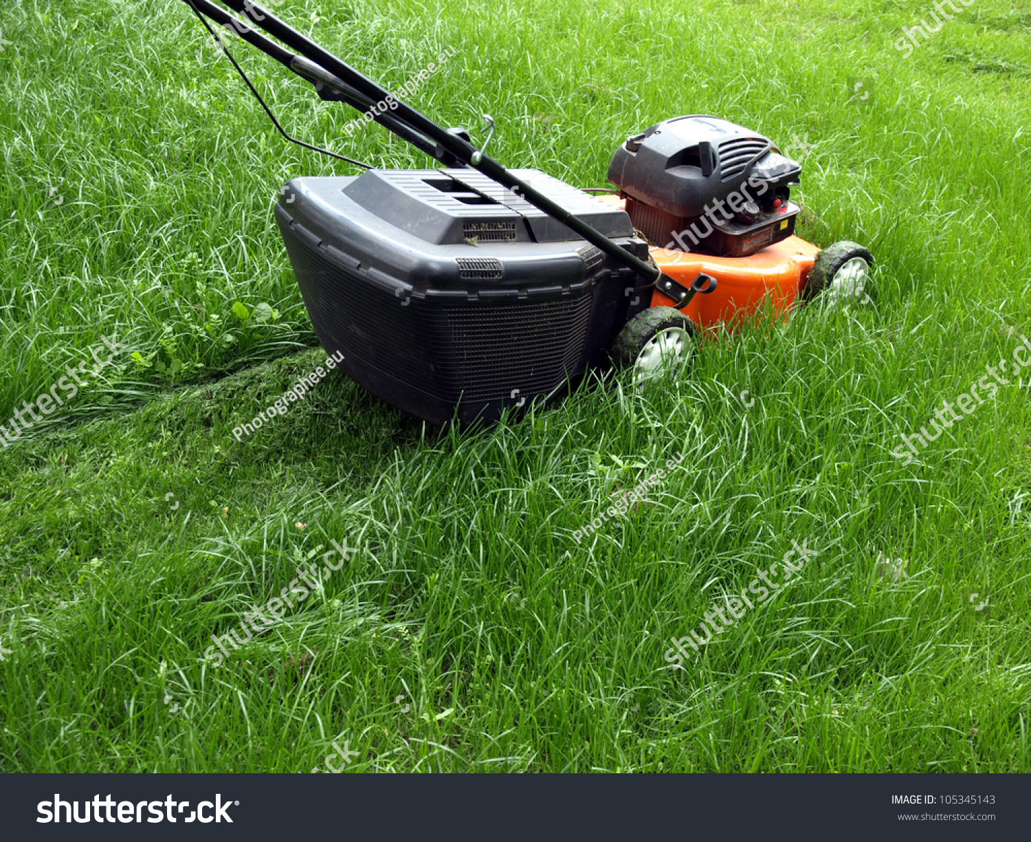 Mowing lawn lawn mower stock photo 105345143 shutterstock for Lawn mower cutting grass