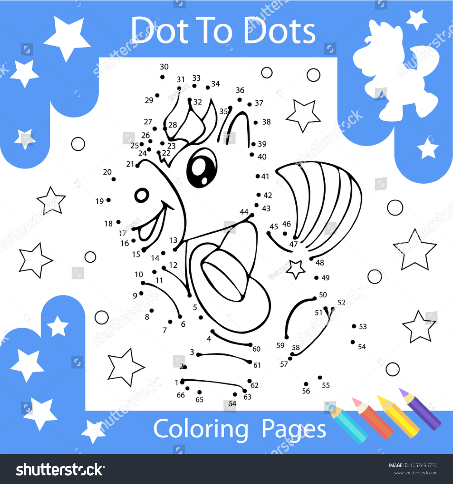 Worksheets Dot To Dots With Drawn The Unicorn Children Funny Riddle Coloring Page