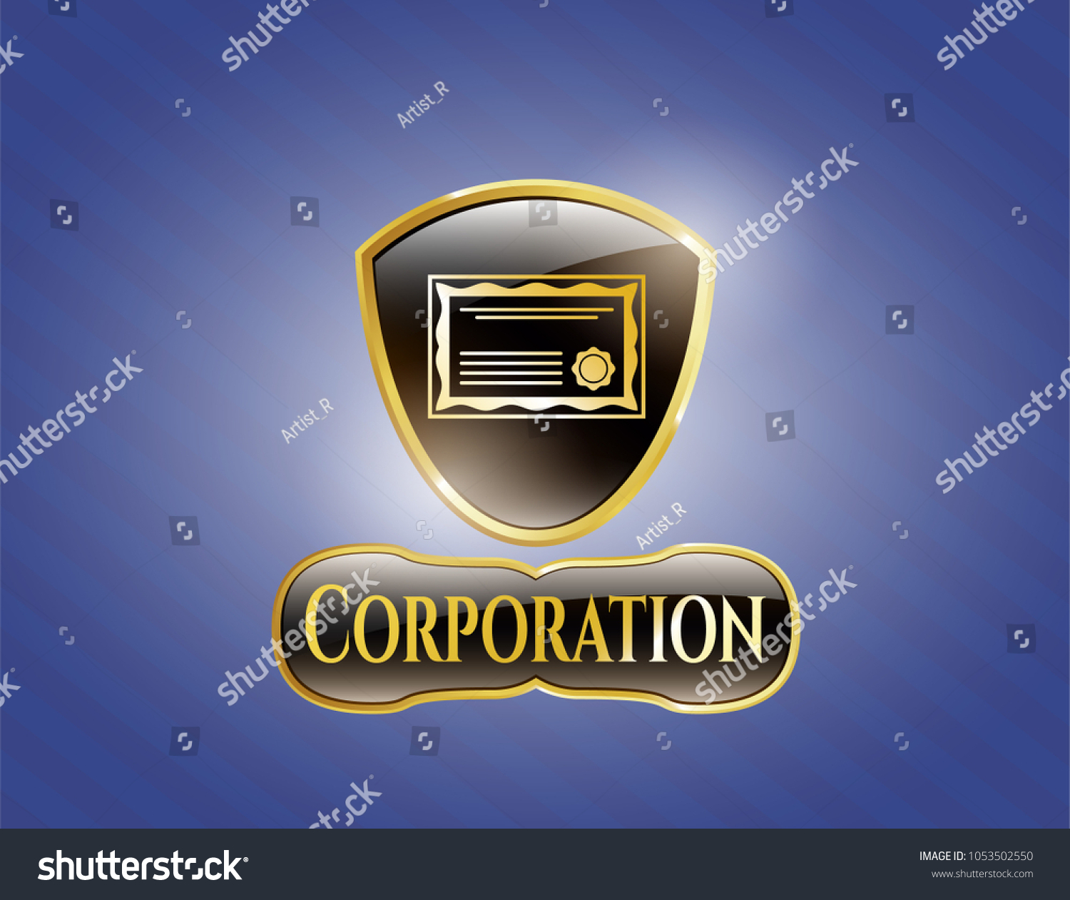 Golden Emblem Certificate Icon Corporation Text Stock Vector
