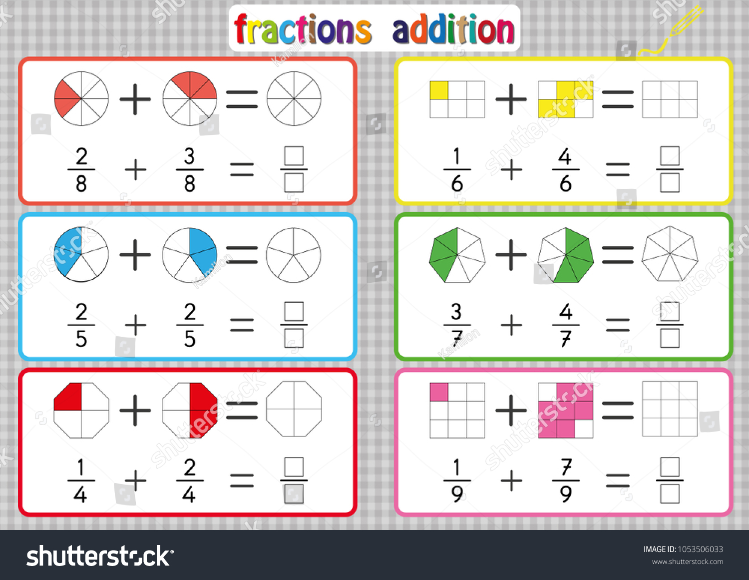 Fractions Addition Printable Fractions Worksheets Kids Stock Vector ...