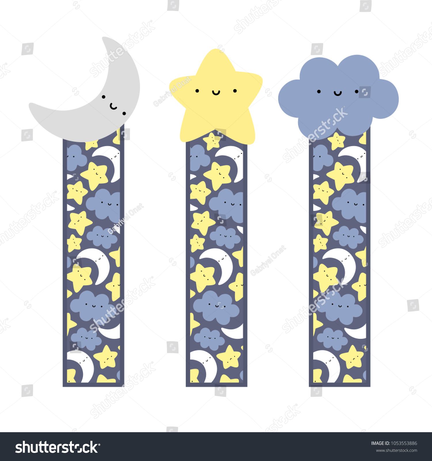 picture regarding Cute Bookmarks Printable named Lovable Encounter Moon Star Cloud Bookmarks Inventory Vector (Royalty