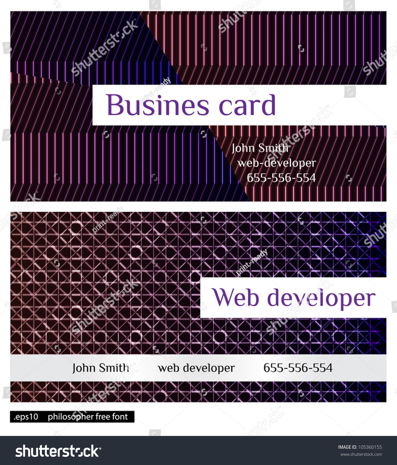 Web Developer Business Cards Stock Vector 105360155 - Shutterstock