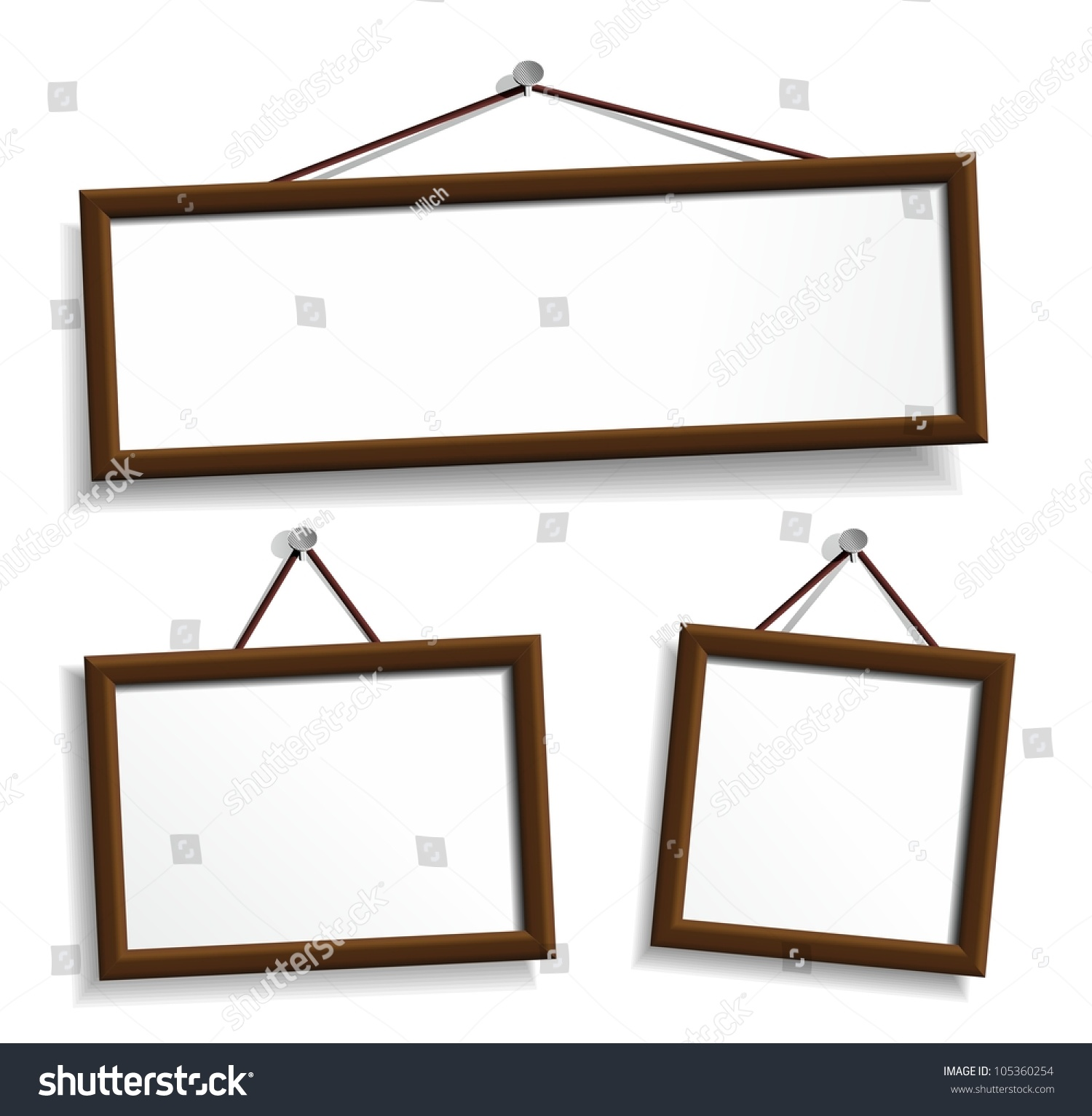 wooden frames hanging on a nails vector design elements isolated on white