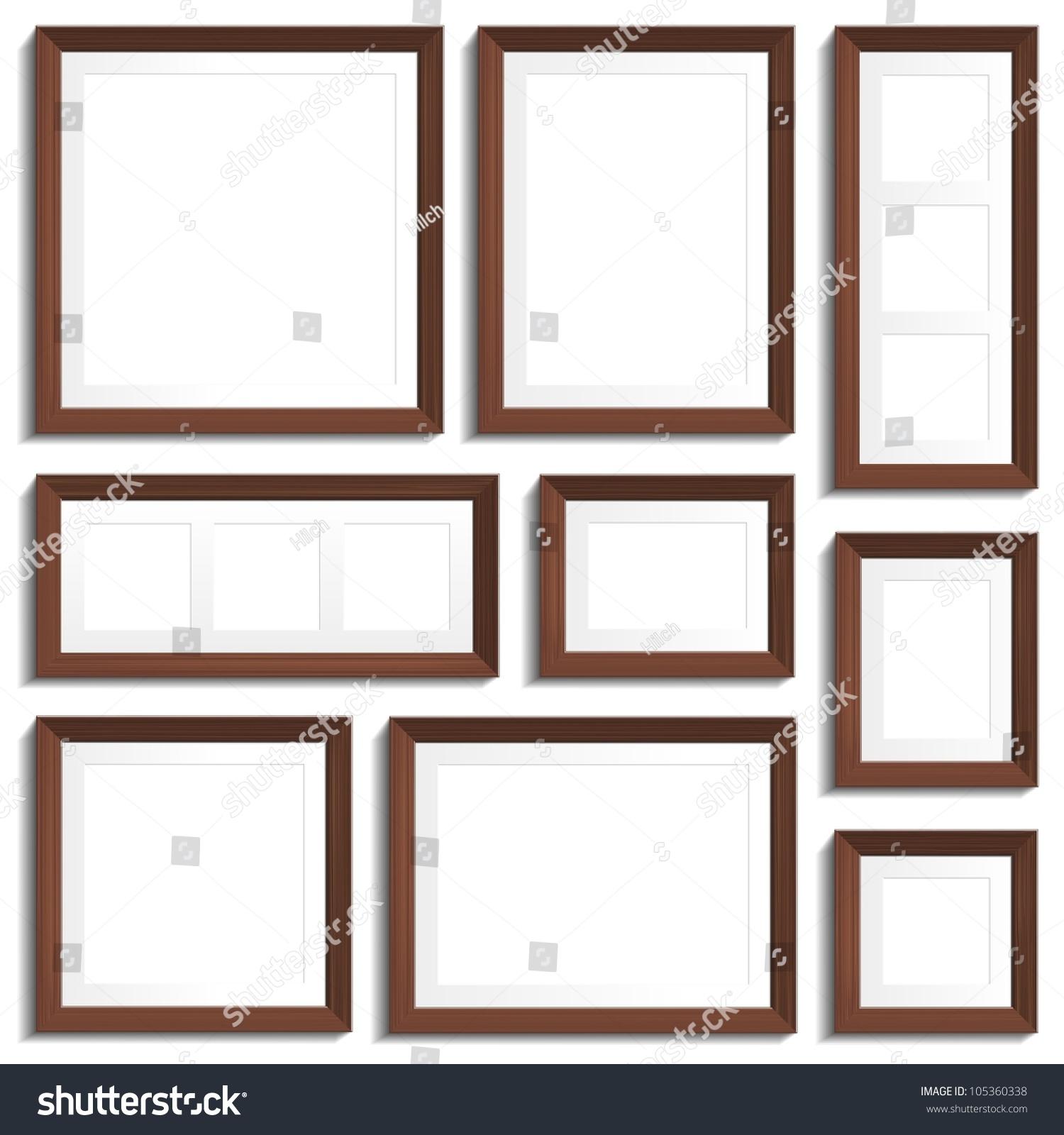 Vector Empty Frames Wenge Wood Various Stock Vector (2018) 105360338 ...