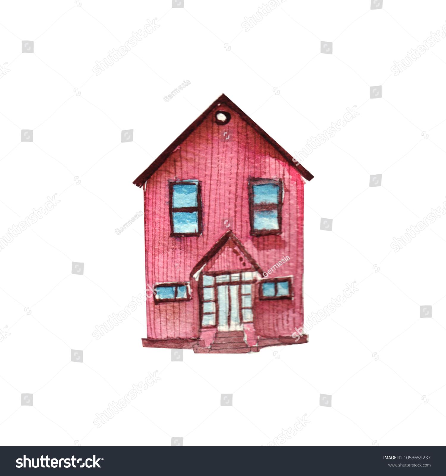 Cute Watercolor House Stock Illustration 1053659237 - Shutterstock
