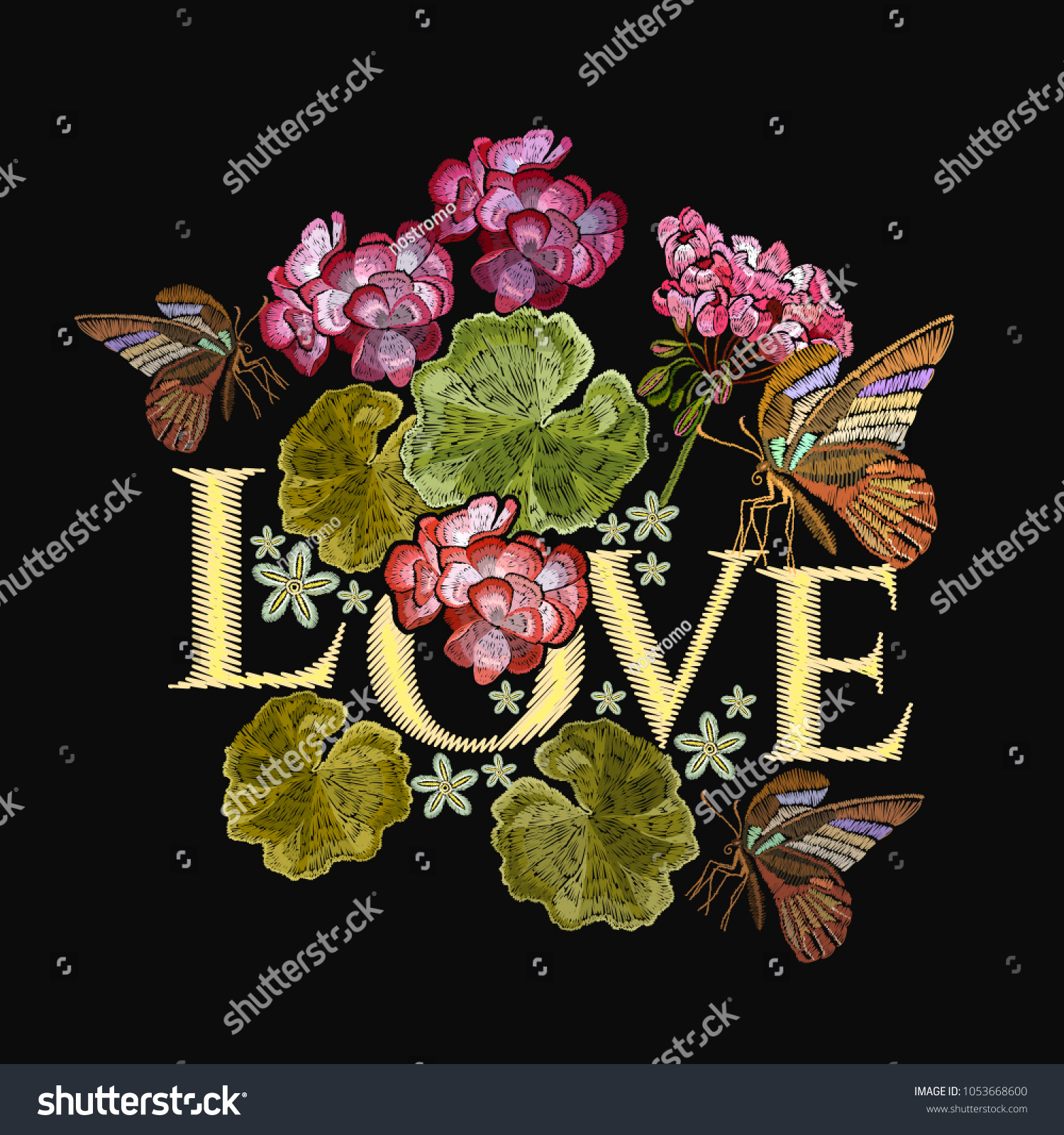 Embroidery Lotus Flowers Butterfly Love Slogan Stock Vector Royalty